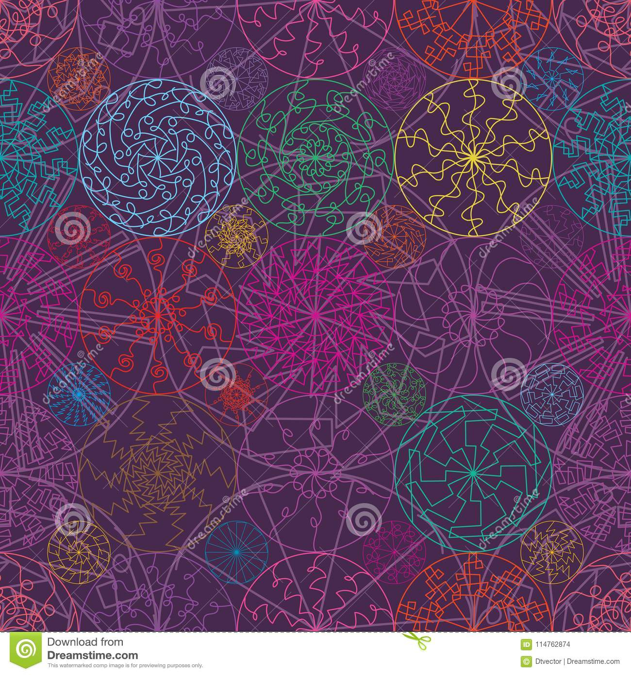 Ligne Modèle Sans Couture De Mandala De Symétrie Colorée De intérieur Symétrie En Ligne