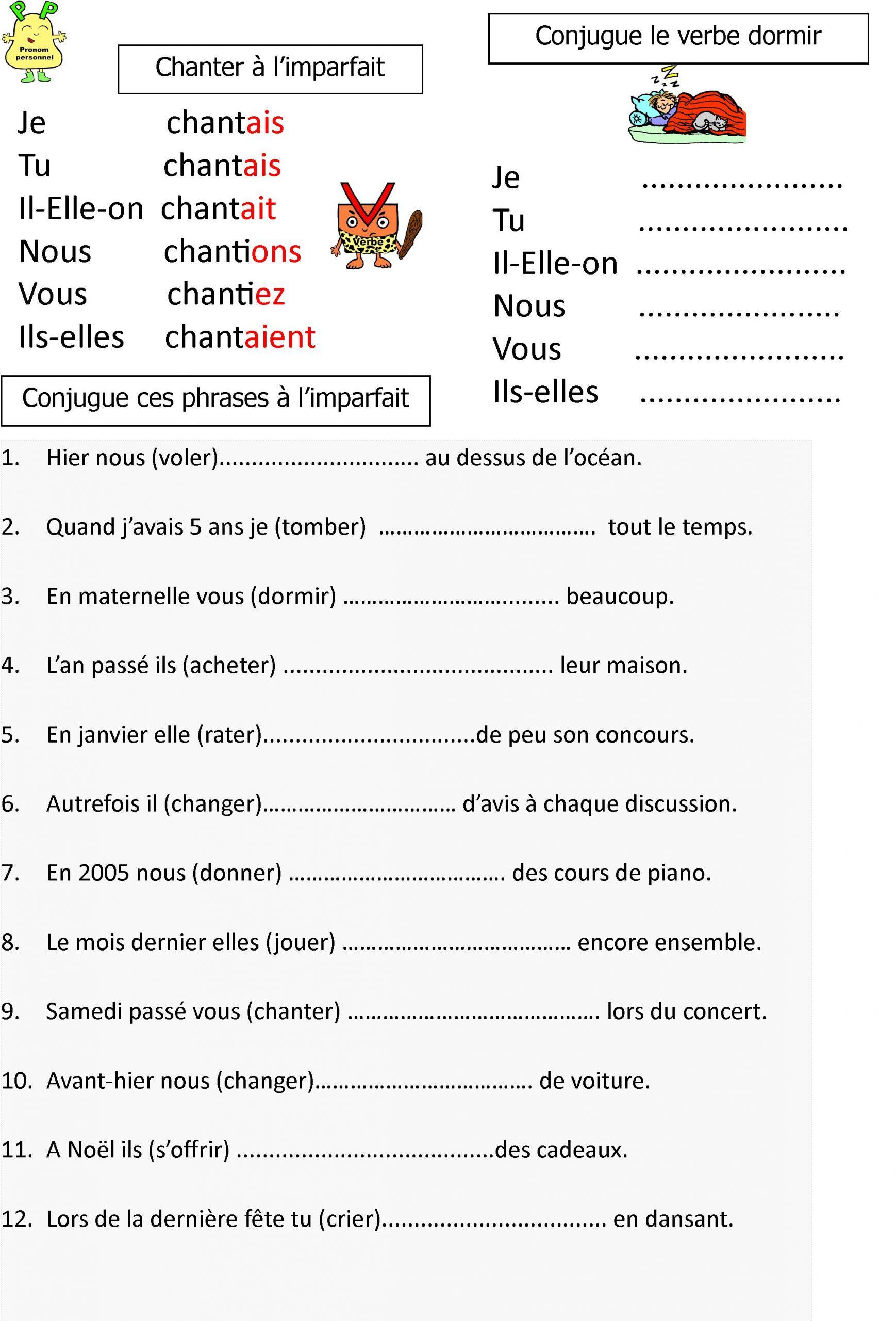 L'imparfait: Leçon Et Exerices Pour Ce1-Ce2 | Le Blog De destiné Travaille Ce2 A Imprimer