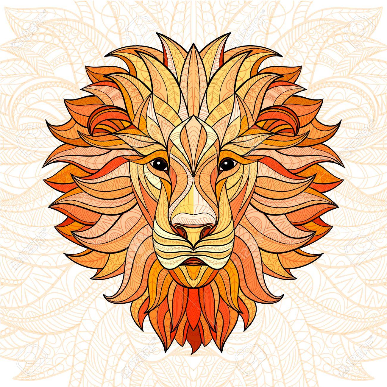 Lion Couleur Détaillée Dans Le Style Aztèque. Tête Modelée Du Lion Sur Fond  Isolé. Indien Conception Totem De Uage Africain. Vector Illustration. à Photo De Lion A Imprimer En Couleur