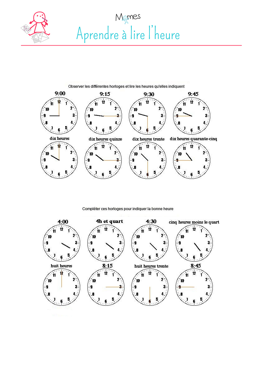 Lire L'heure: Exercice - Momes à Exercice Pour Apprendre A Lire