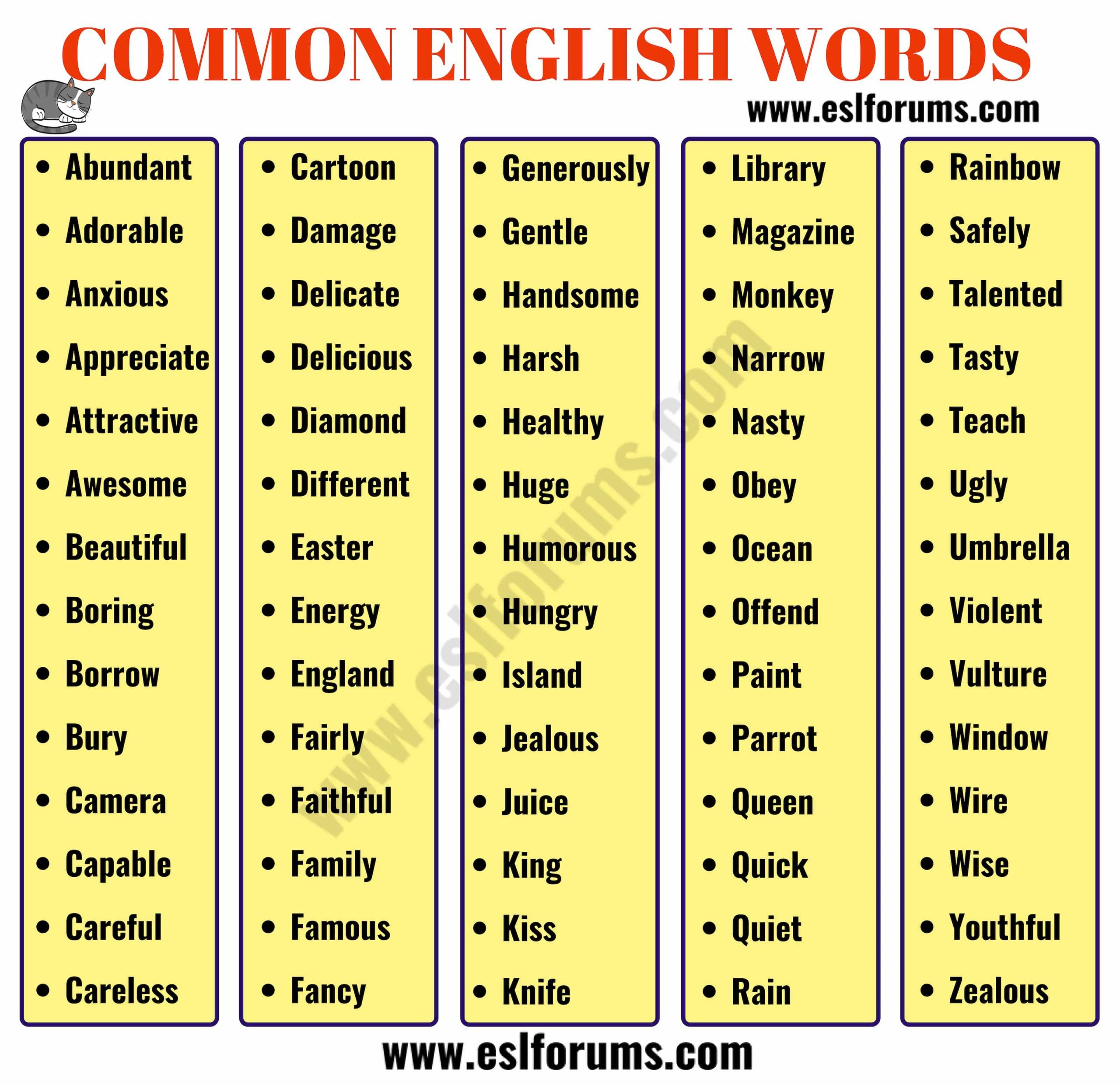 List Of 700+ Most Common English Words Everyone Should Learn à Jeux Anglais À Imprimer