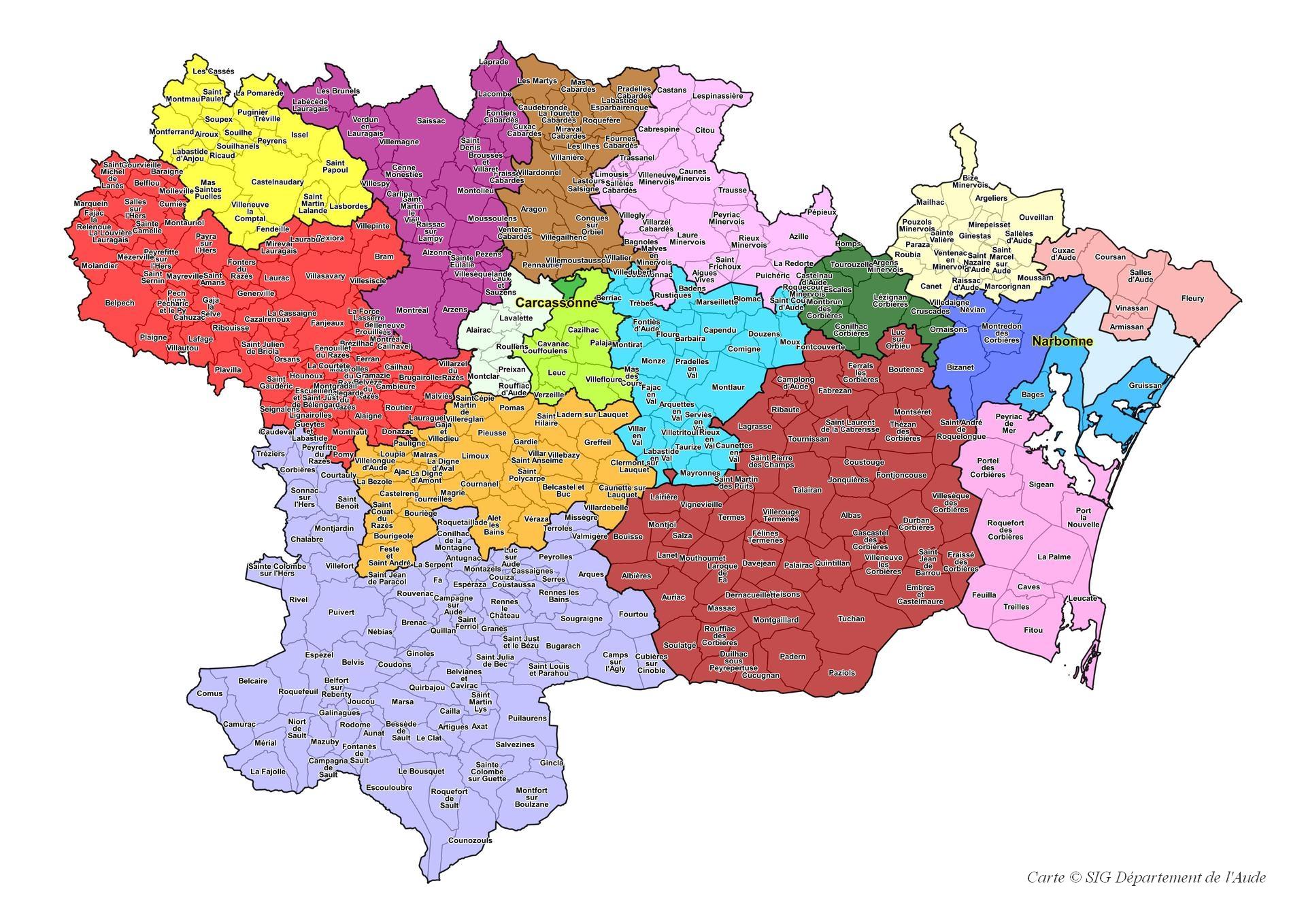 Liste Des Cantons Du Département - Aude encequiconcerne Carte De Departement A Imprimer