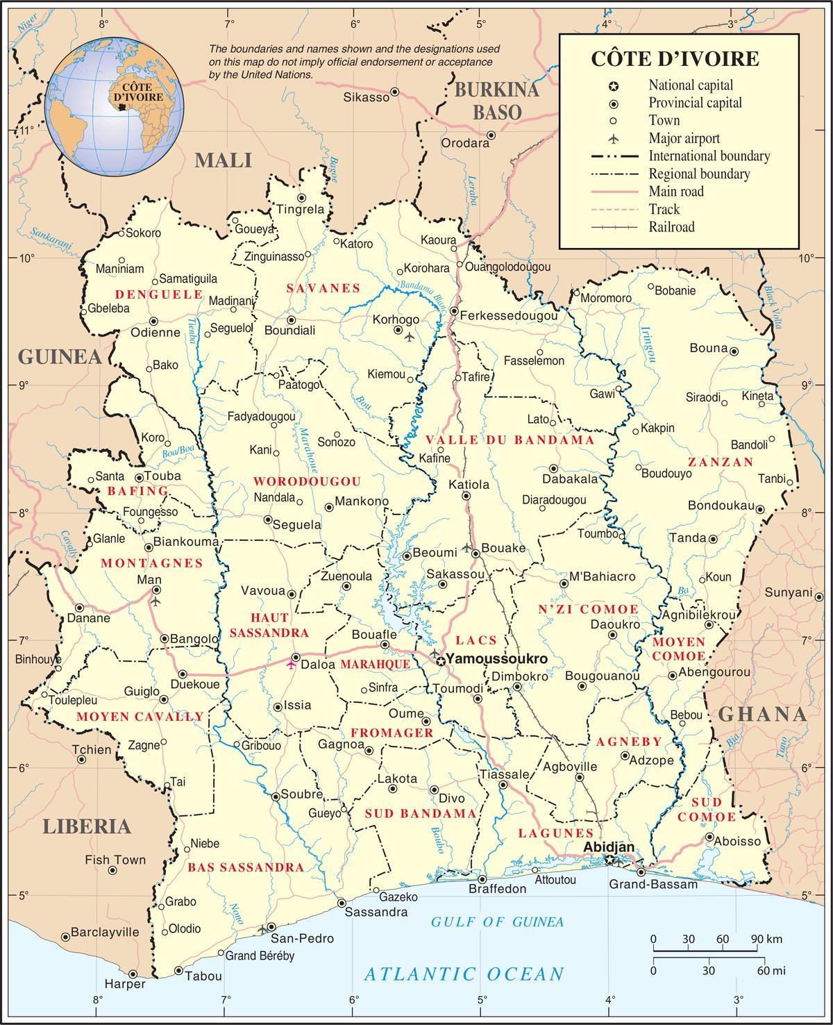 Liste Des Communes De Côte D'ivoire — Wikipédia intérieur Carte Departement 13