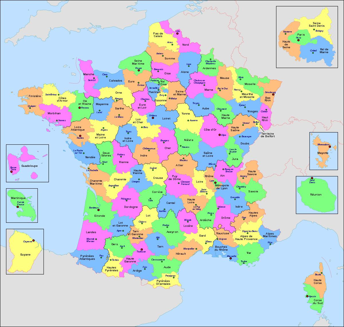 Liste Des Départements Français — Wikipédia à Departement Et Chef Lieu