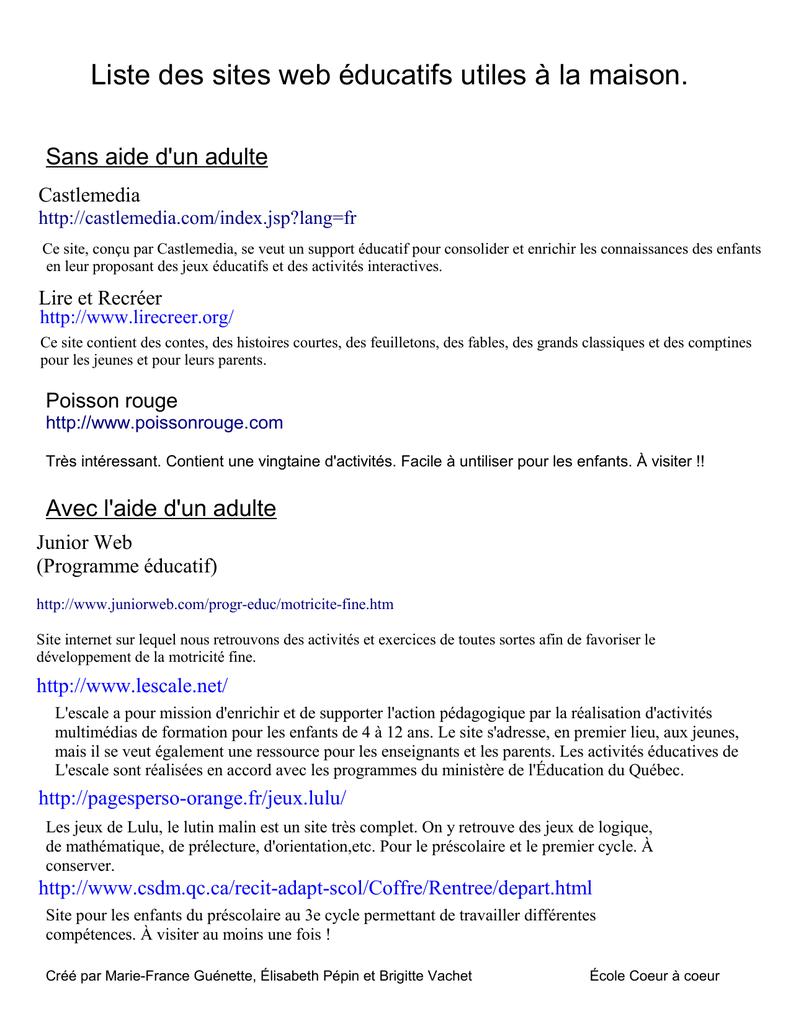 Liste Des Sites Web Éducatifs Utiles À La Maison. dedans Jeux Lulu Le Lutin