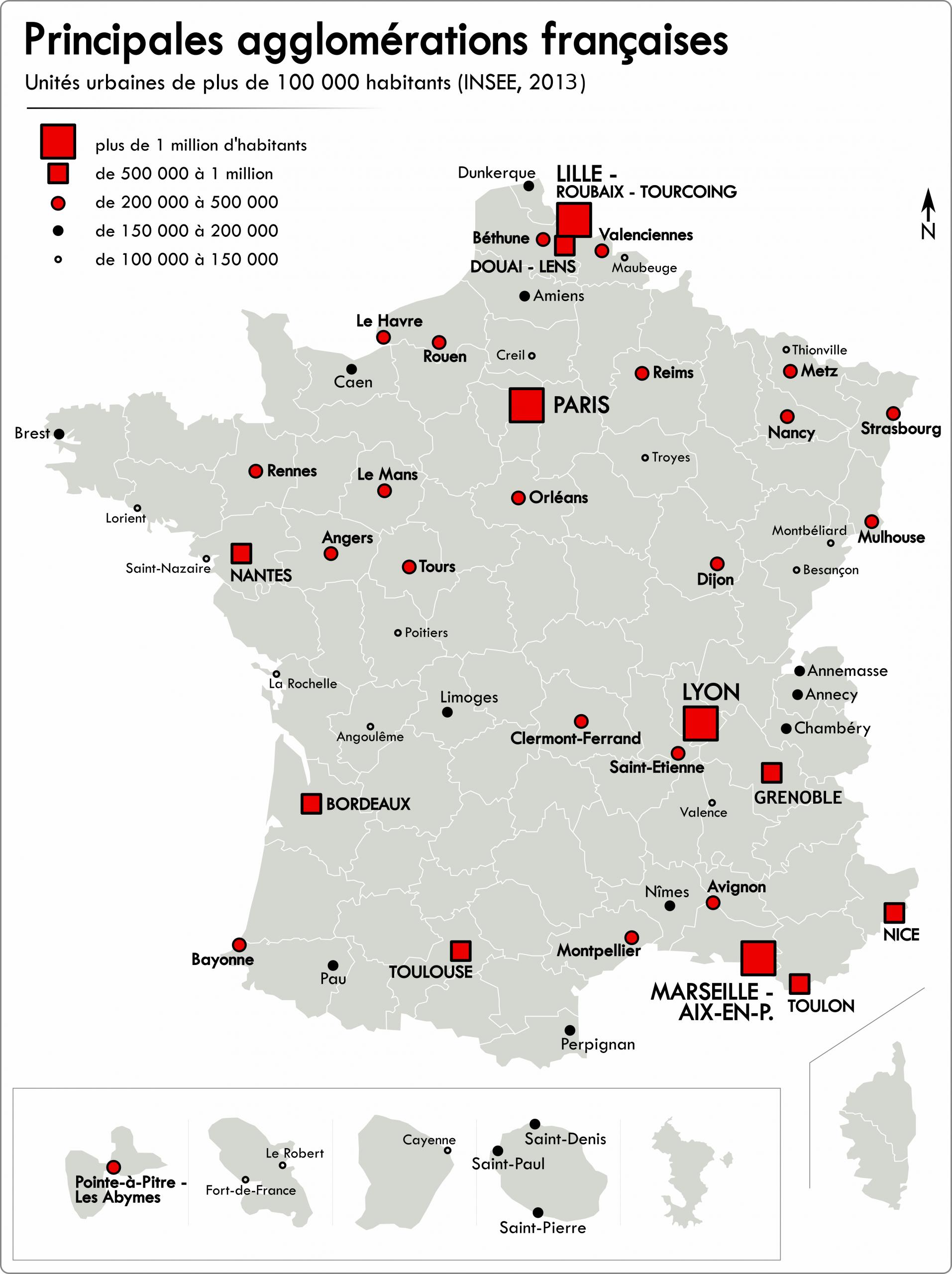 Liste Des Unités Urbaines De France — Wikipédia concernant Carte France Principales Villes
