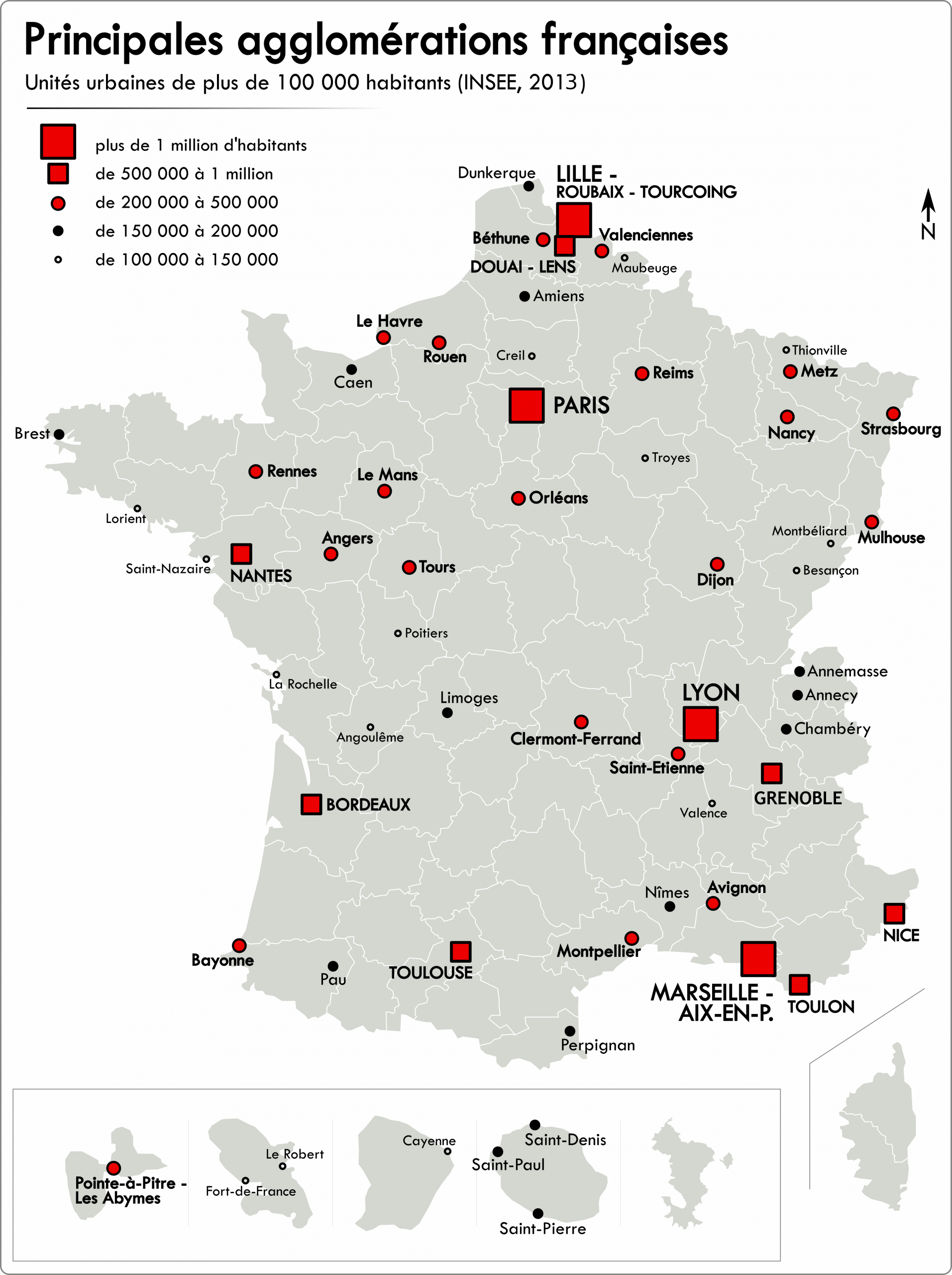 Liste Des Unités Urbaines De France — Wikipédia tout Carte De France Avec Grandes Villes