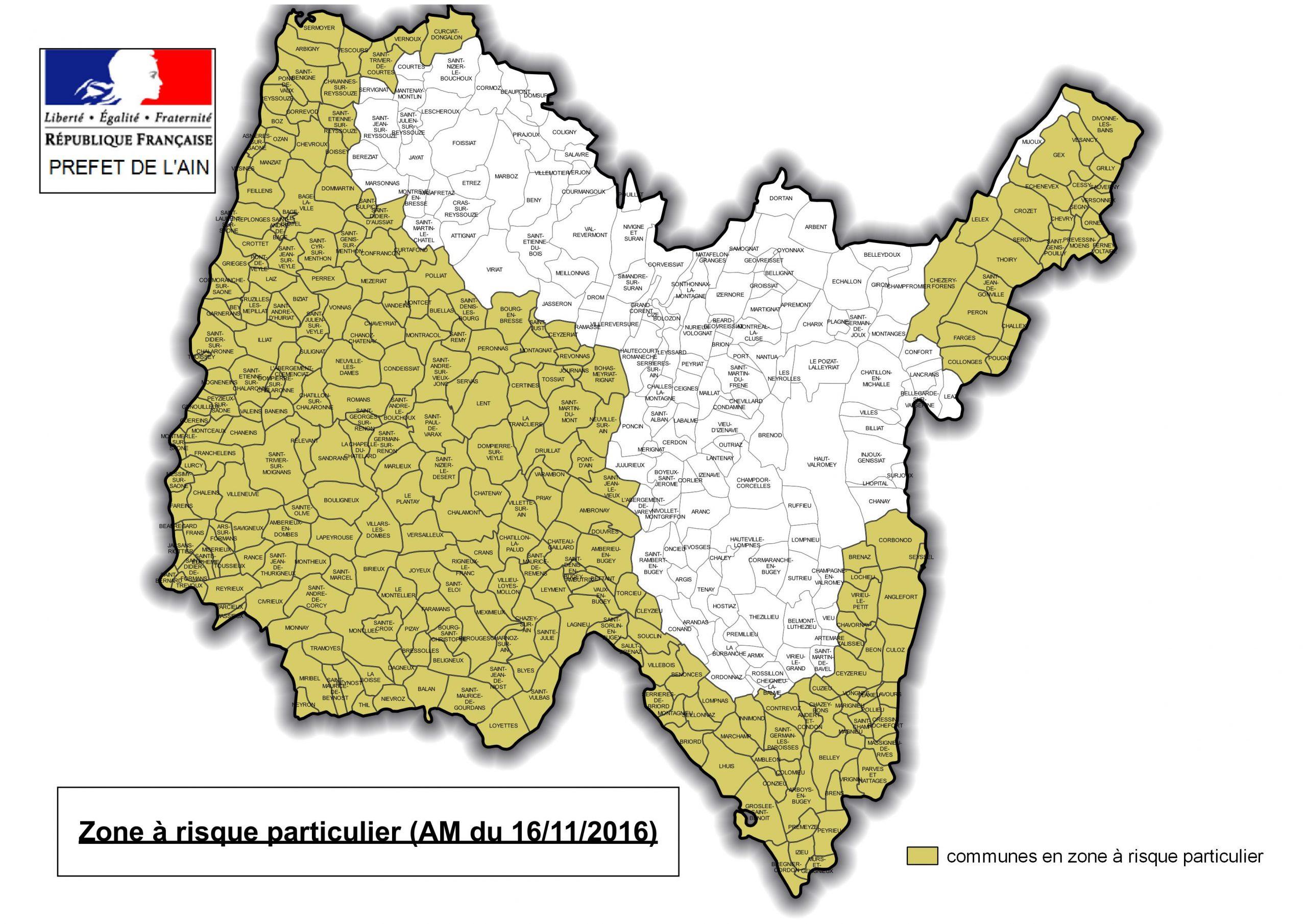 Liste Et Carte Des Communes De L'ain Classées En Zone À à Carte De Departement A Imprimer