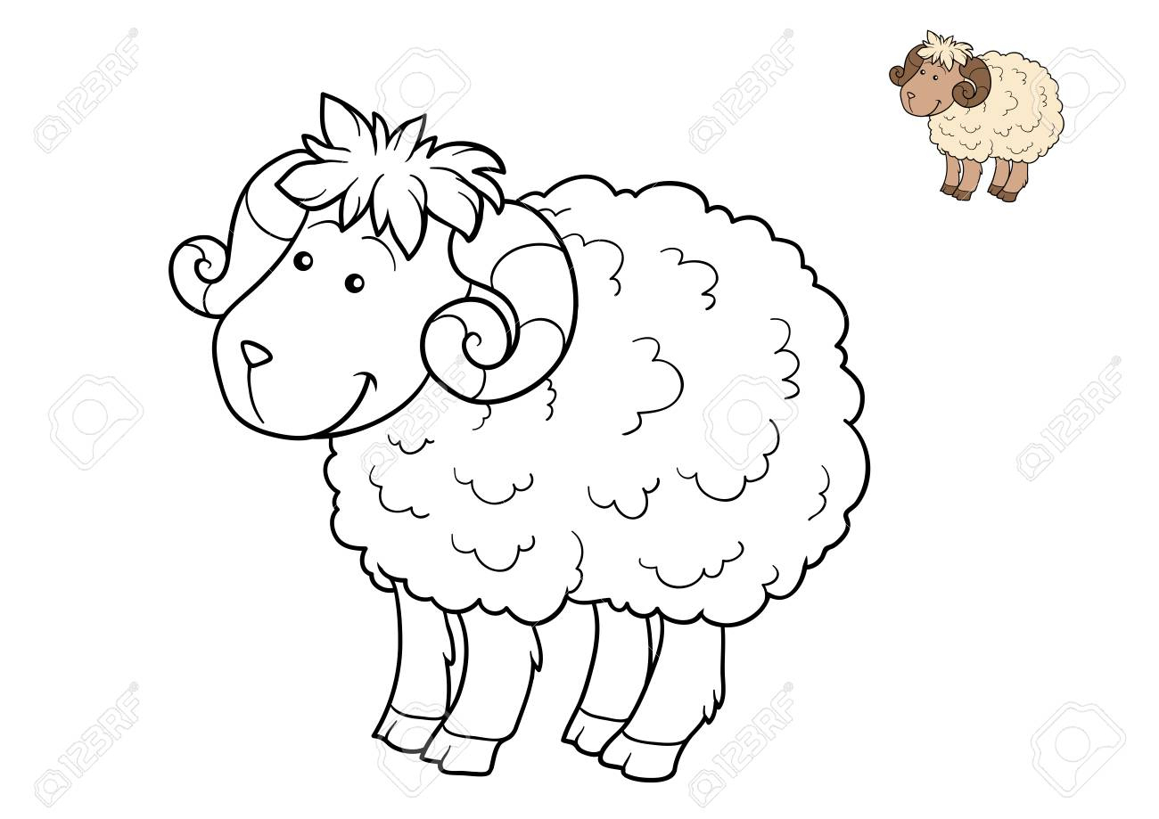 Livre À Colorier Pour Les Enfants, Mouton intérieur Mouton À Colorier