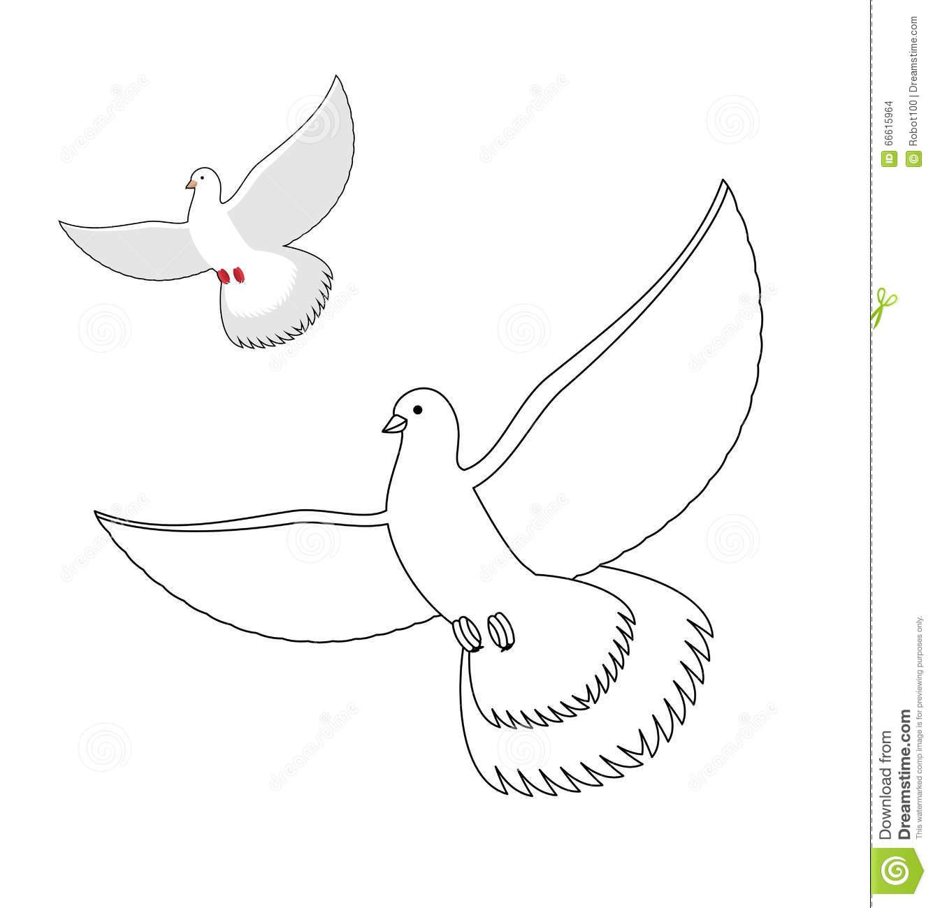 Livre De Coloriage De Colombe De Blanc Pigeon Blanc Volant pour Modèle Oiseau À Découper