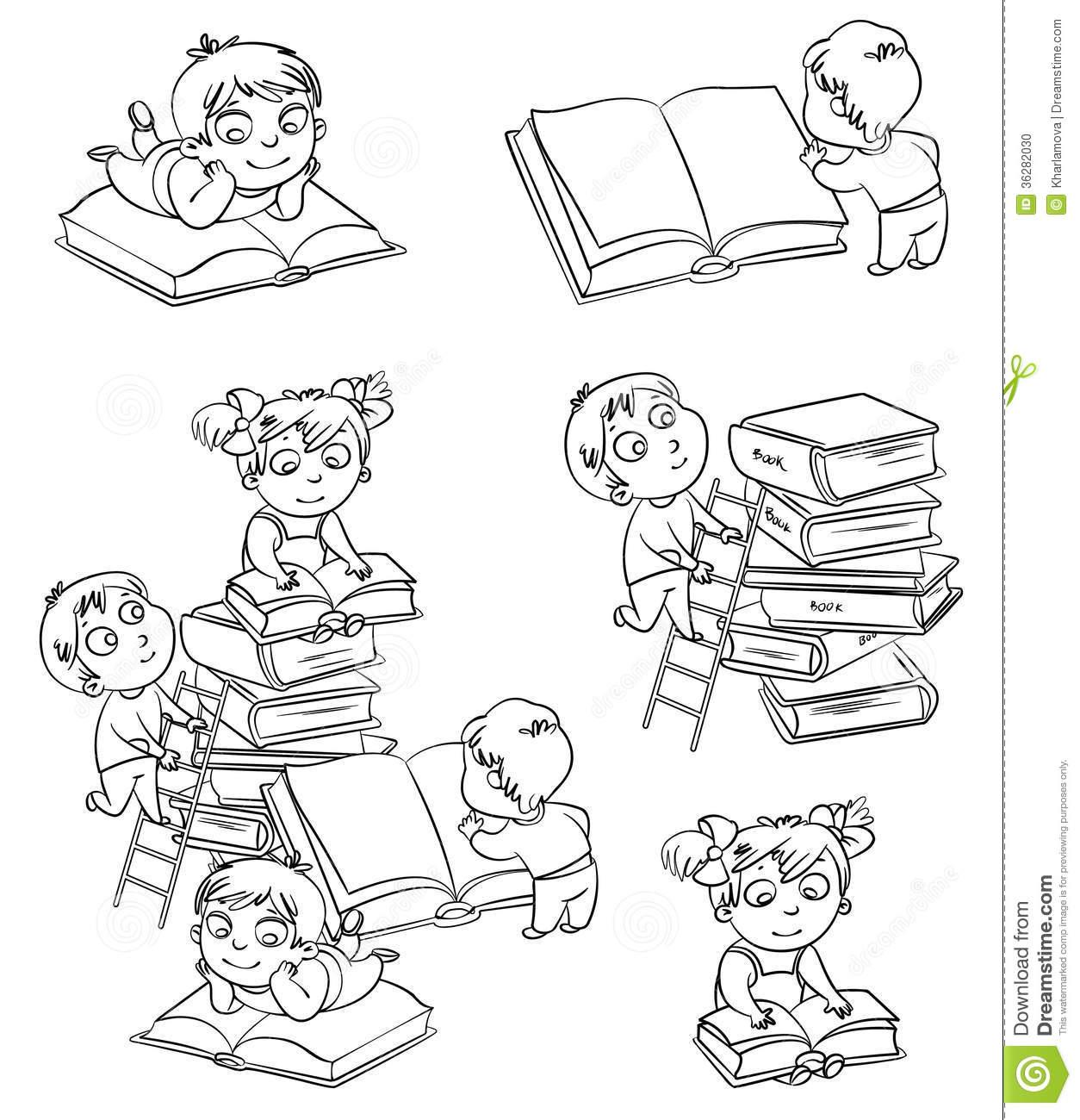 Livres De Lecture D'enfants Dans La Bibliothèque. Livre De concernant Cahier De Coloriage Enfant