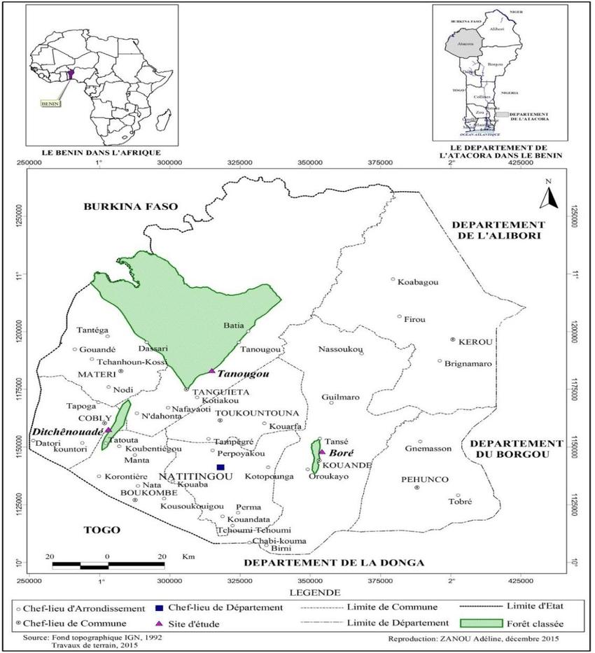 Localisation Des Sites D'étude Dans Le Département De L à Departement Et Chef Lieu