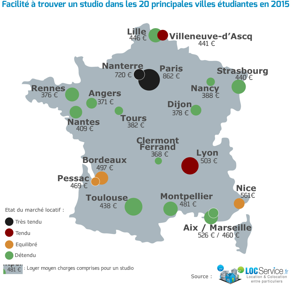 Logement Étudiant : La Tension Locative Analysée Dans Les 20 avec Carte De France Avec Grandes Villes