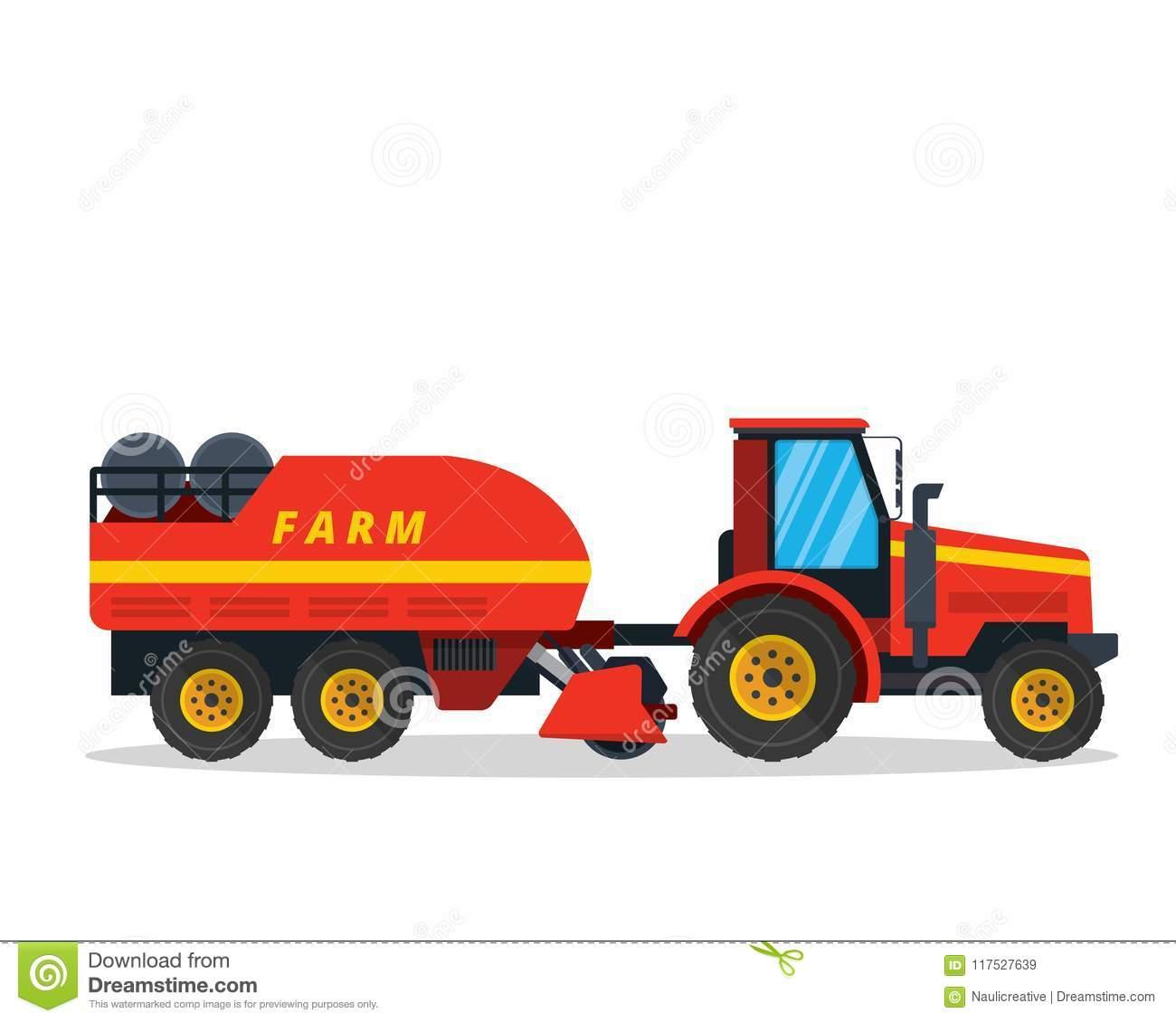 Longue Illustration De Véhicule De Ferme D'agriculture De dedans Jeux Gratuit Tracteur A La Ferme