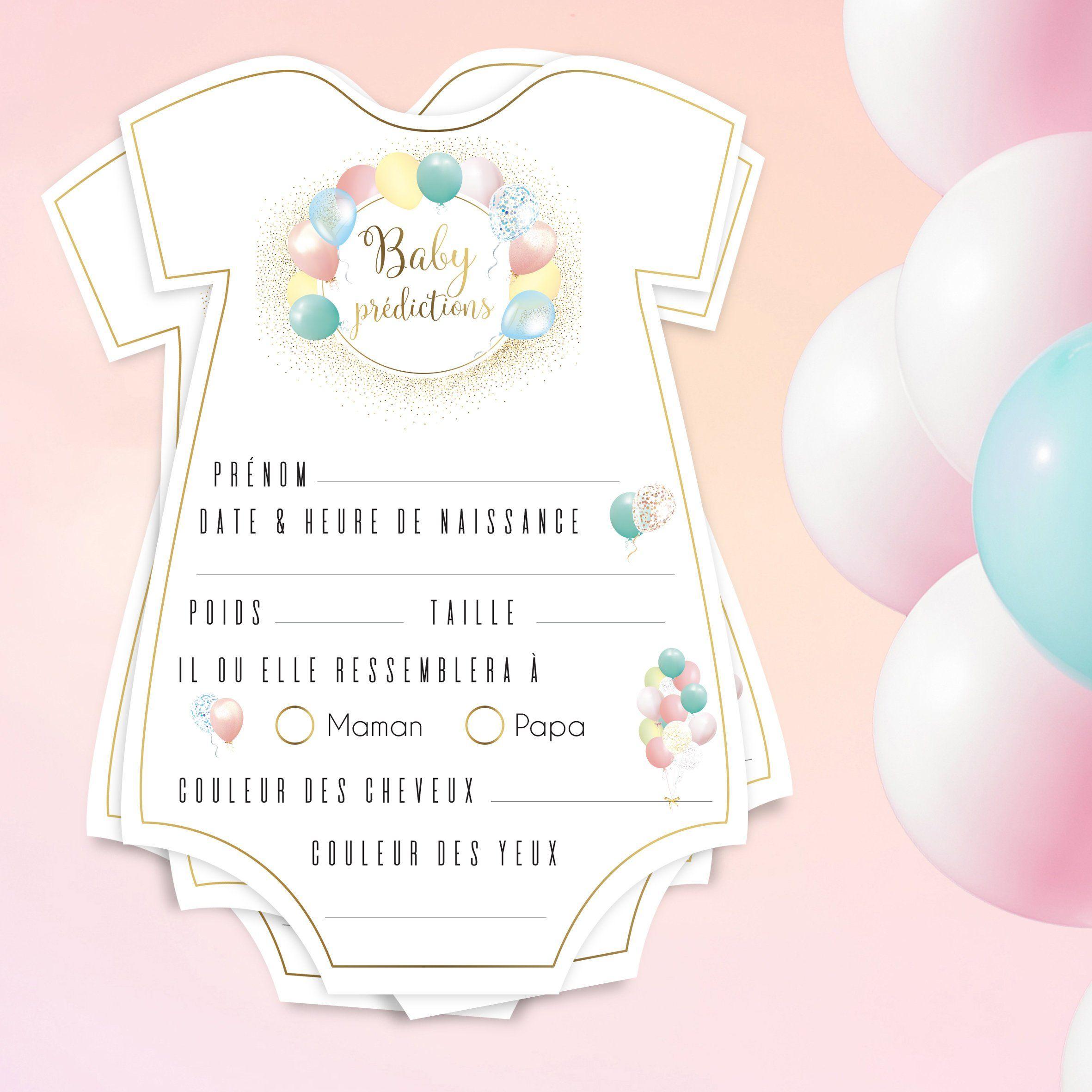 Lot De Jeux Baby Shower Bébé Prédictions Ballons Pastel tout Jeux Bebe Fille