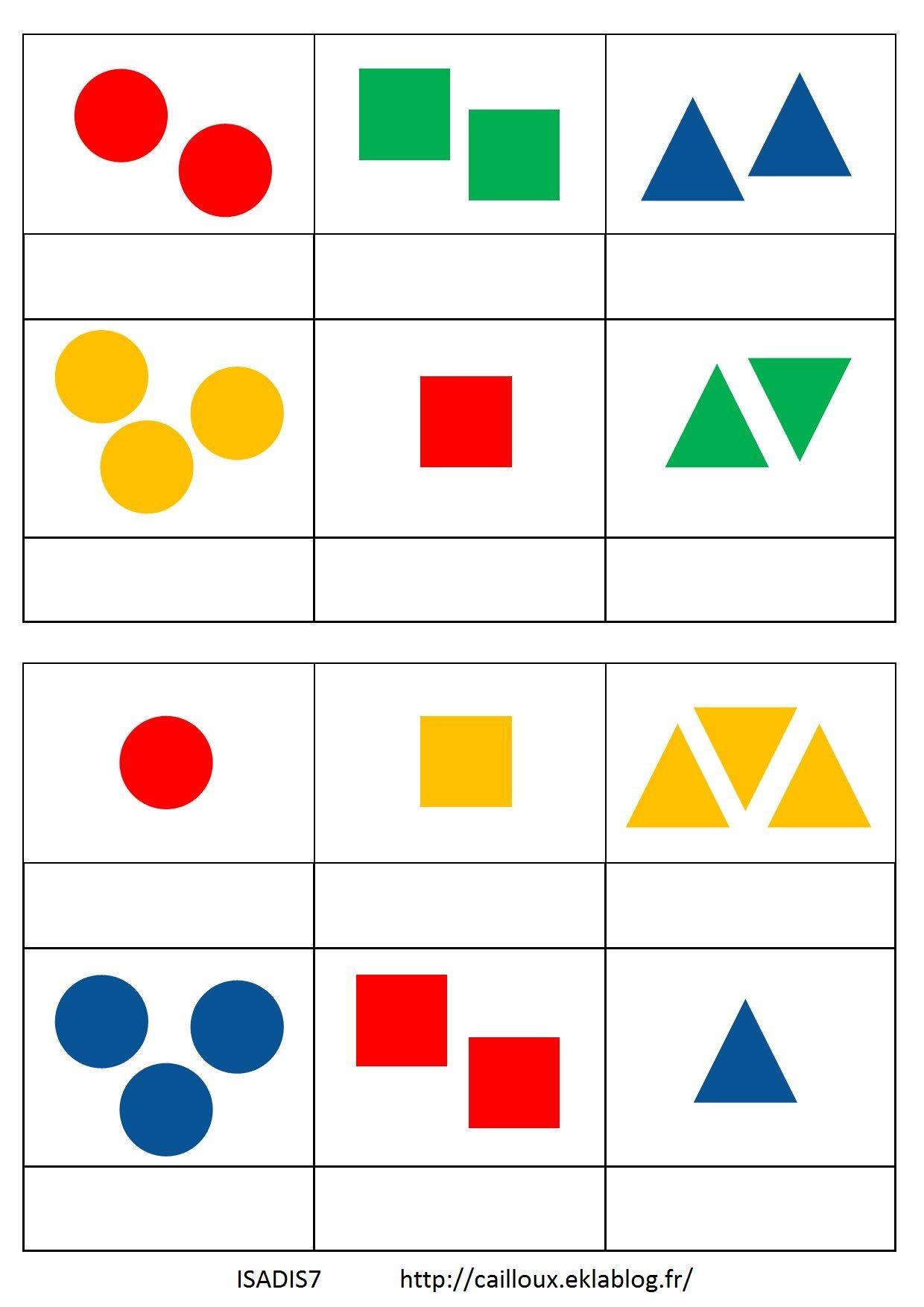 Loto Des Formes À 3 Critères | Jeux À Fabriquer Maternelle concernant Jeux Forme Et Couleur