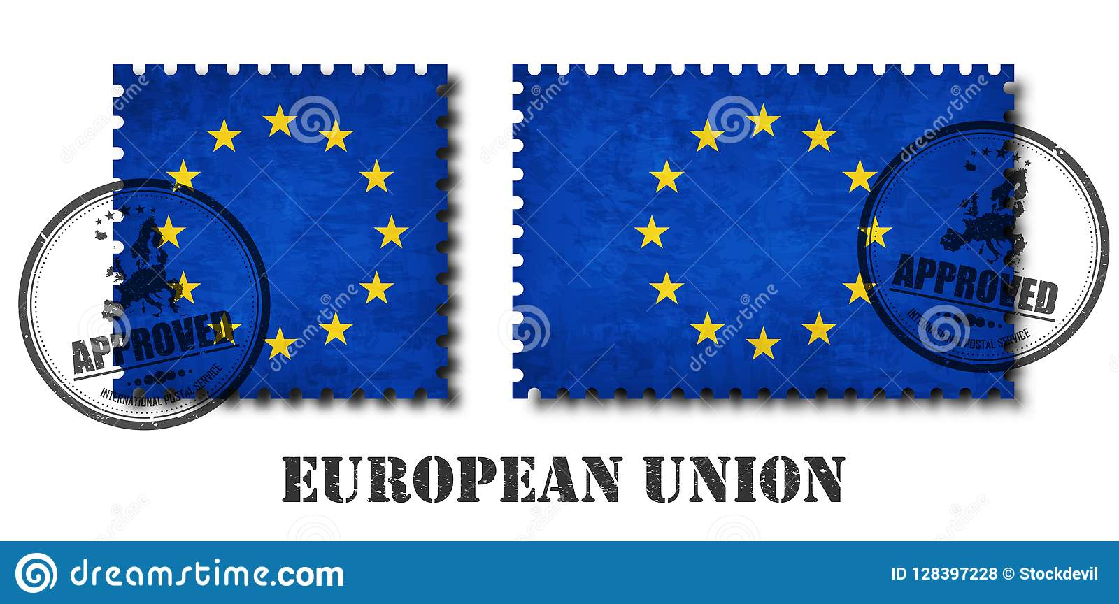 L'ue De Drapeau D'union Européenne Modèlent Le Timbre-Poste encequiconcerne Nom Des Pays De L Union Européenne