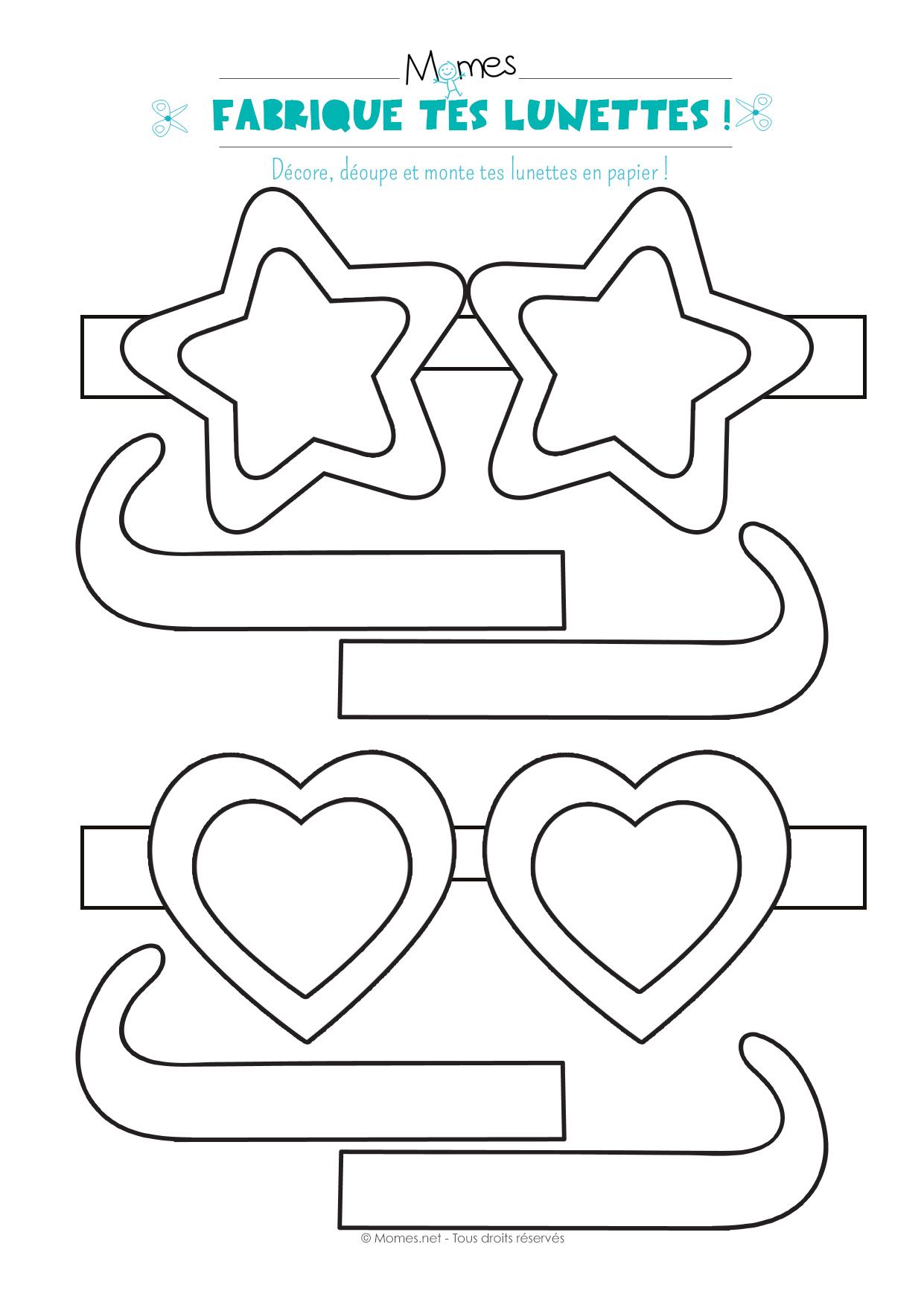 Lunettes À Imprimer Et À Colorier - Momes pour Coeur A Imprimer Et Decouper