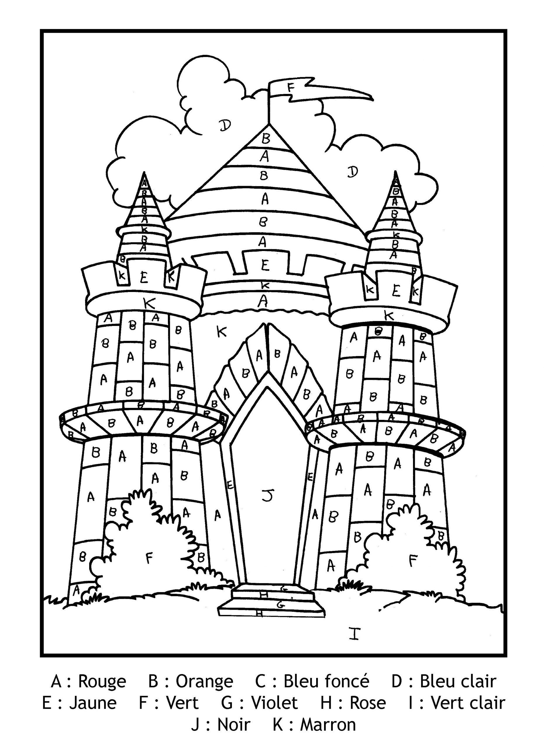 Magique Gratuit Lettres Chateau - Coloriage Magique serapportantà Coloriage Magique Pour Enfant