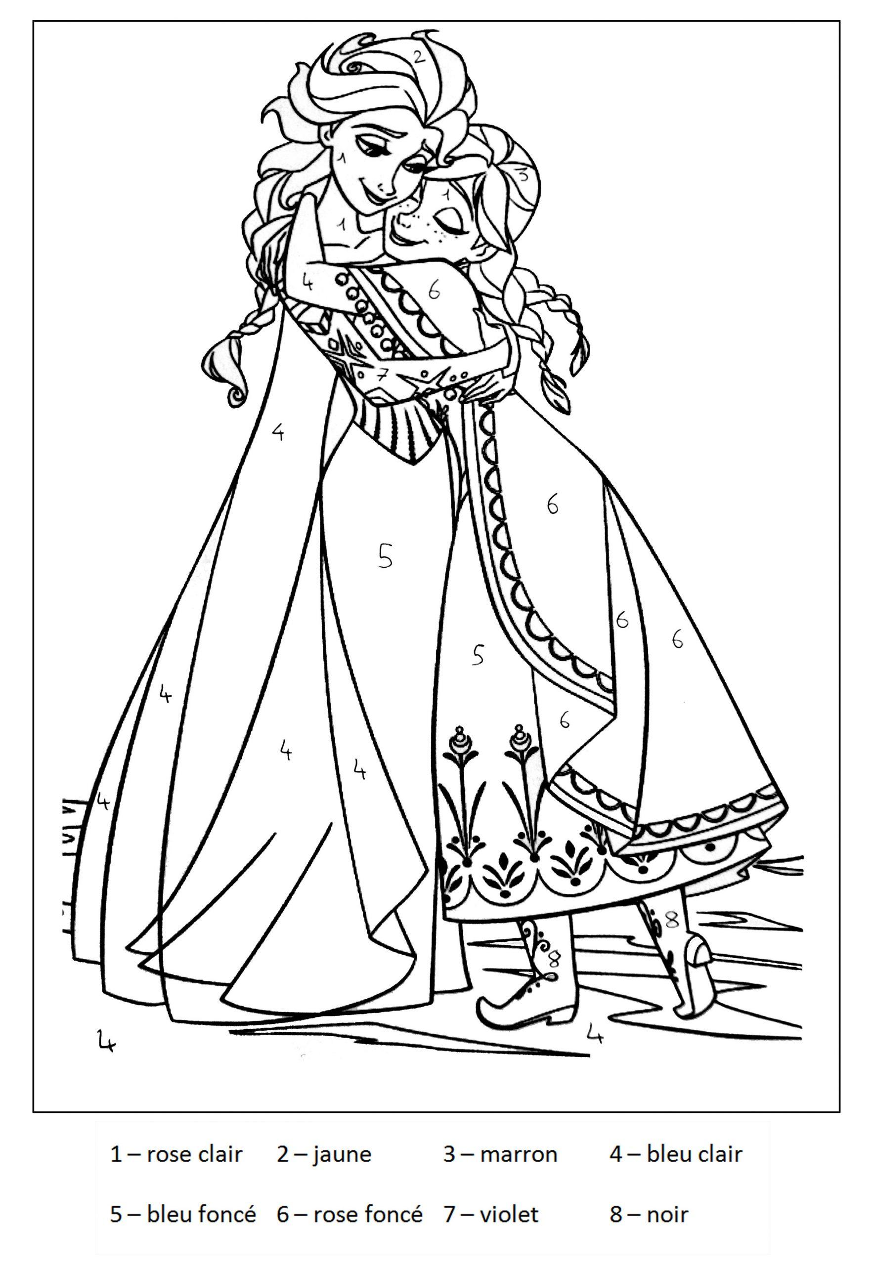 Magique Reine Des Neiges 2 - Coloriage Magique - Coloriages à Reine Des Neiges Dessin À Colorier