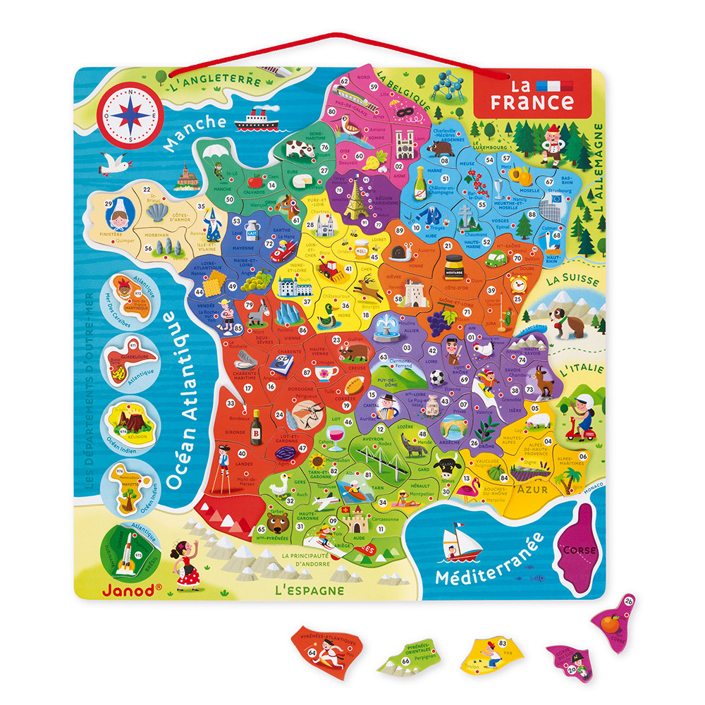 Magnetic France Map 93 Pieces - French (Wood) concernant Map De France Regions