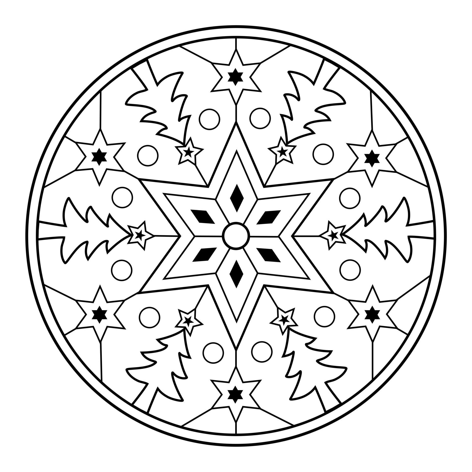 Mandala De Noël Gratuit À Imprimer - Un Max D'idées encequiconcerne Coloriage Gratuit À Imprimer Pour Fille