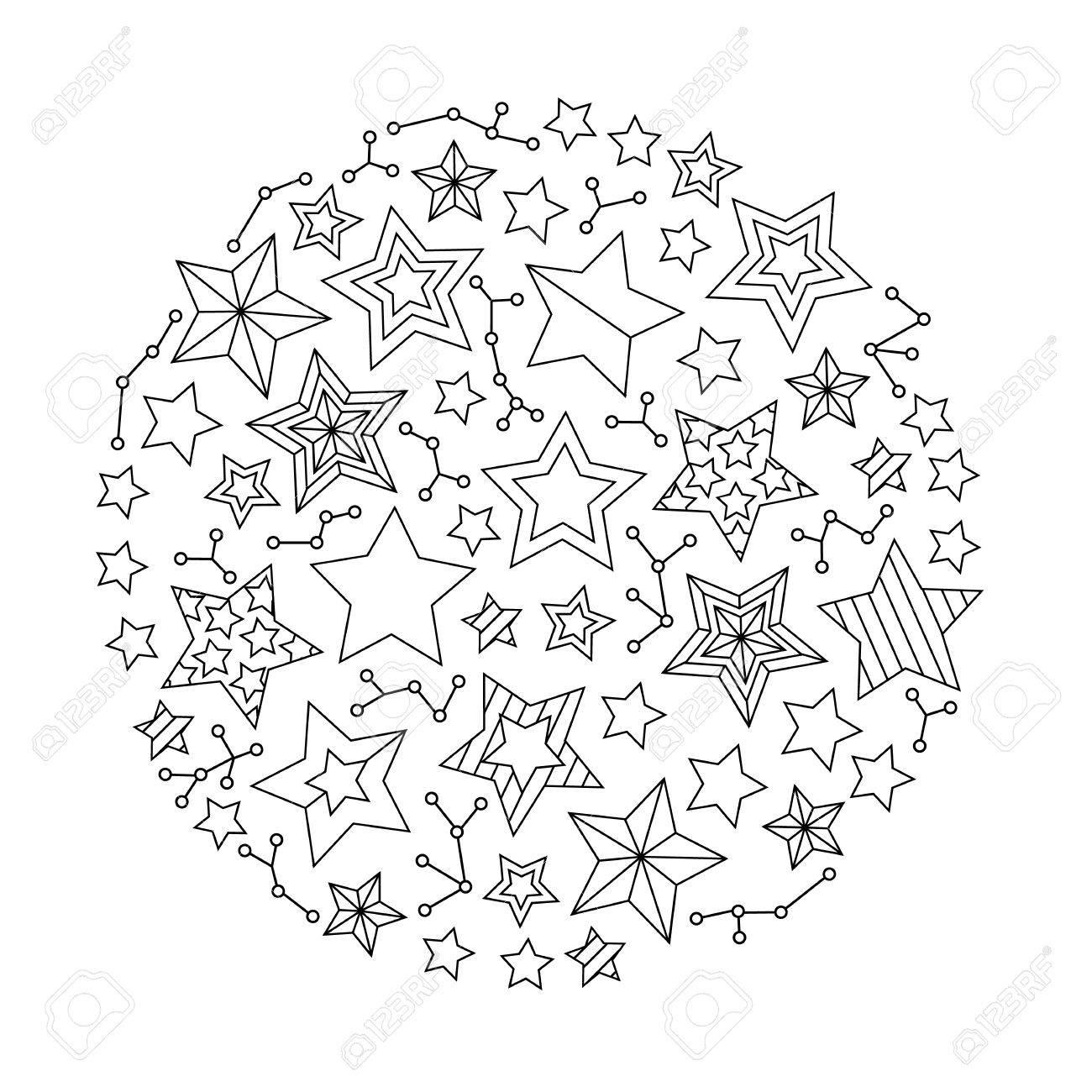 Mandala Rond Graphique Avec Des Étoiles. Style Inspiré. Livre De Coloriage  Pour Adultes Et Enfants Plus Âgés. Art Vector Illustration avec Coloriage Graphique