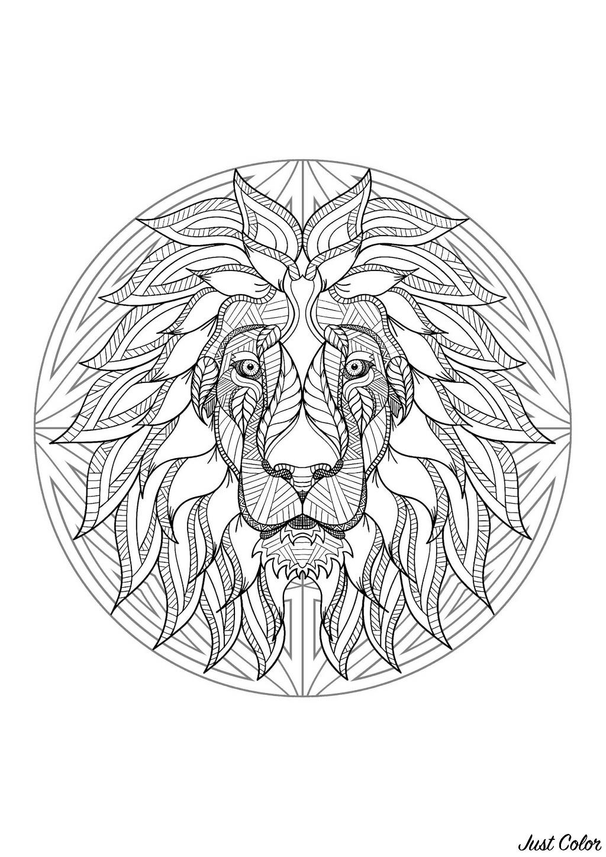 Mandala Tête De Lion 4 - Mandalas Difficiles (Pour Adultes pour Photo De Lion A Imprimer En Couleur