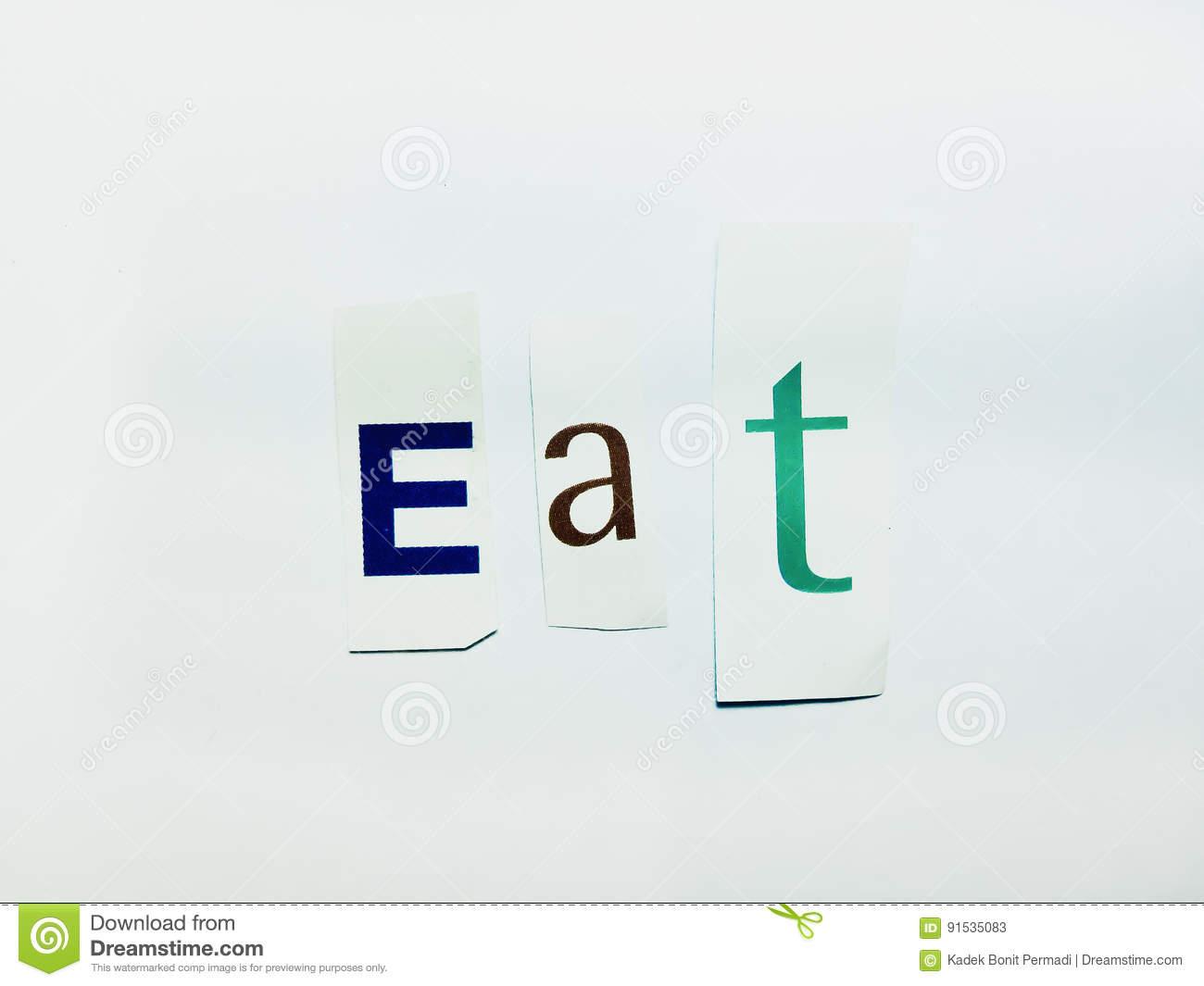 Mangez - Le Collage De Mots De Coupe-Circuit Des Lettres à Mot Avec Lettres Mélangées