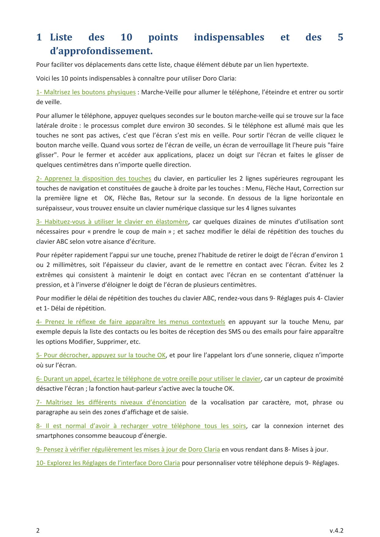 Manuel - Doro 820 Mini Claria - Android 4.4 - Device Guides intérieur Mot Fleché