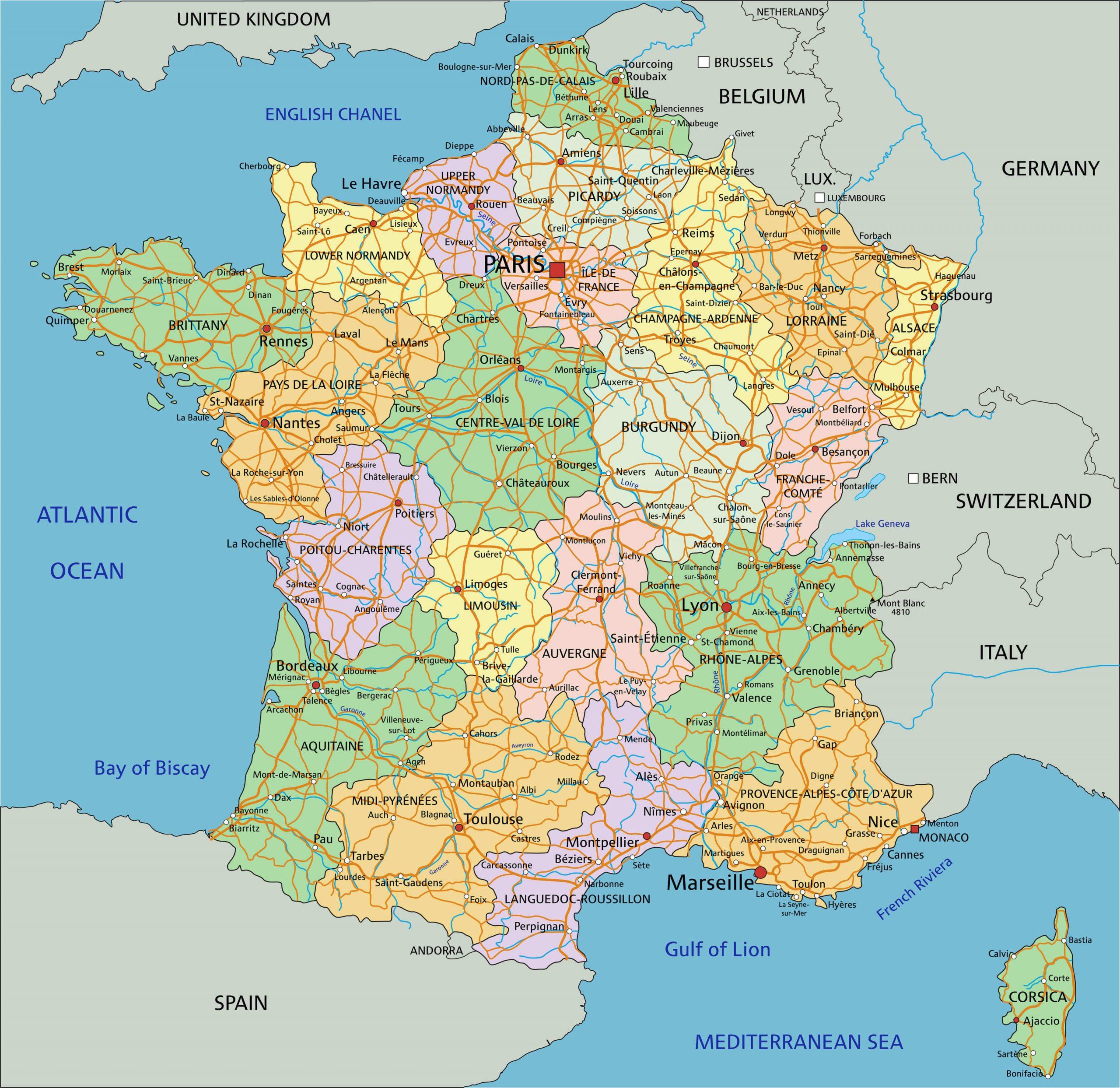 Map France à Map De France Regions