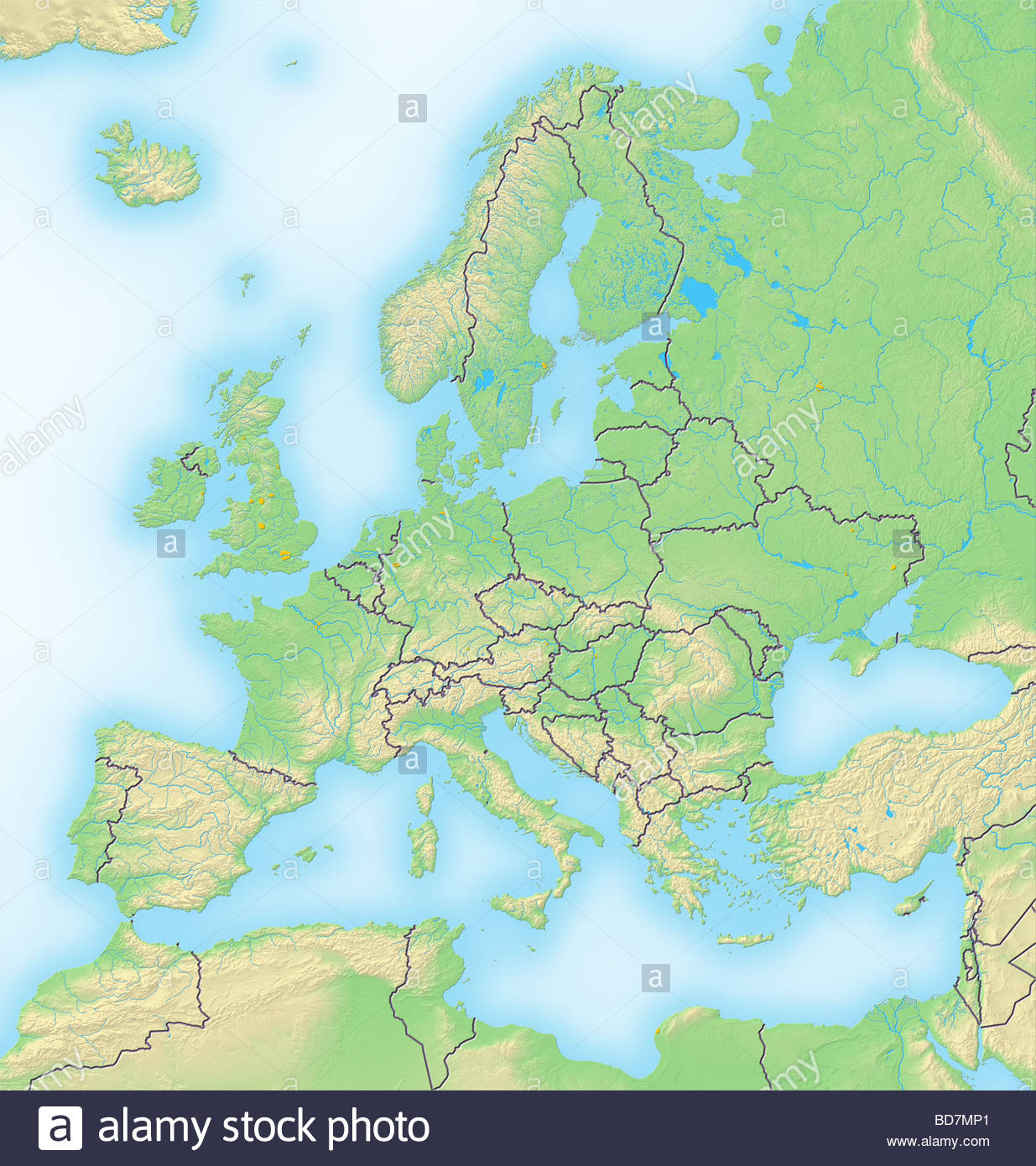 Map Of Europe Stock Photos & Map Of Europe Stock Images - Alamy pour Carte De L Europe En Relief