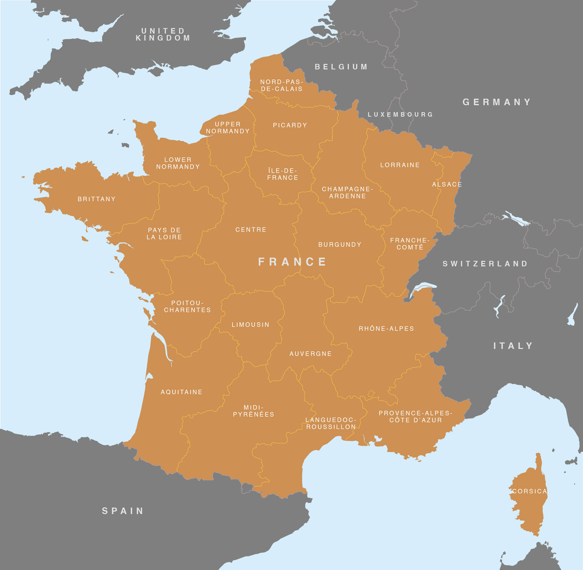 Map Of France - French Regions - Royalty Free Editable Base Map encequiconcerne Map De France Regions