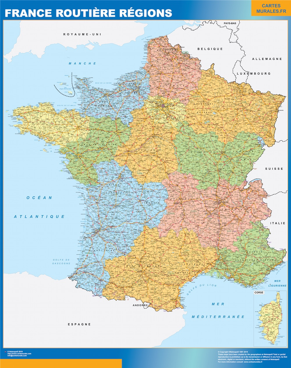 Map Of France Roads Regional destiné Map De France Regions