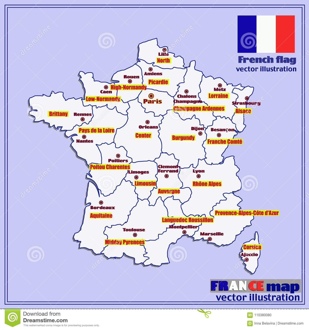Map Of France With French Regions. Vector. Stock Vector pour Map De France Regions
