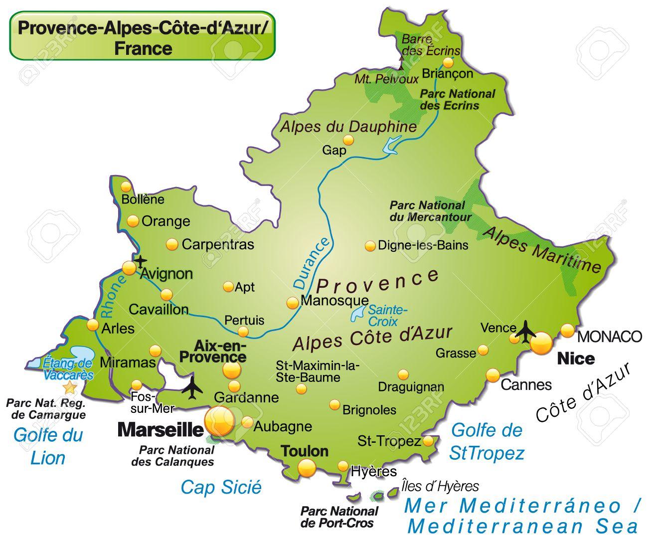 Map Of Provence-Alpes-Cote D Azur As An Overview Map In Green concernant Gap Sur La Carte De France