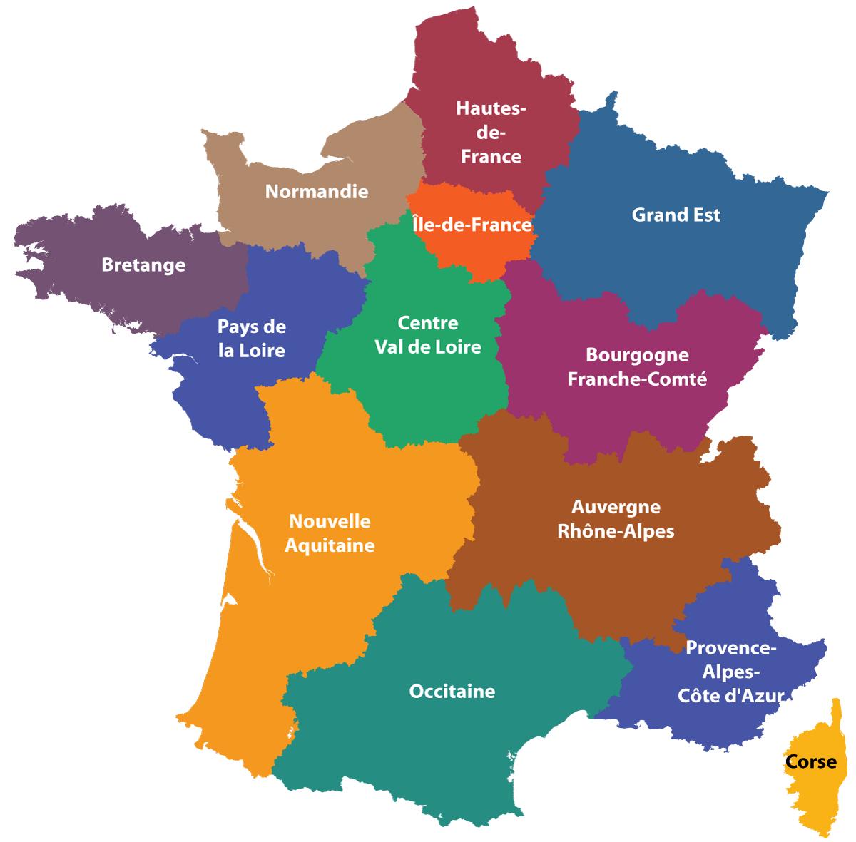 Maps Of The Regions Of France dedans Map De France Regions