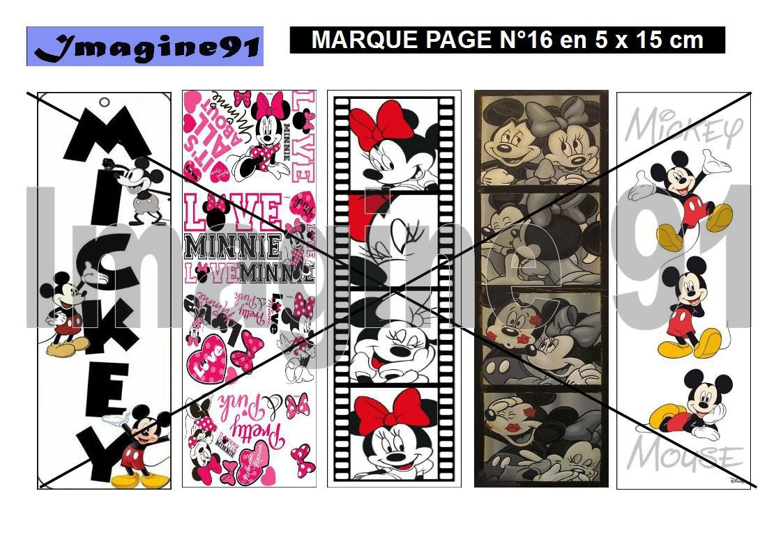Marque Page N°17 - Mickey Minnie concernant Marque Page À Imprimer