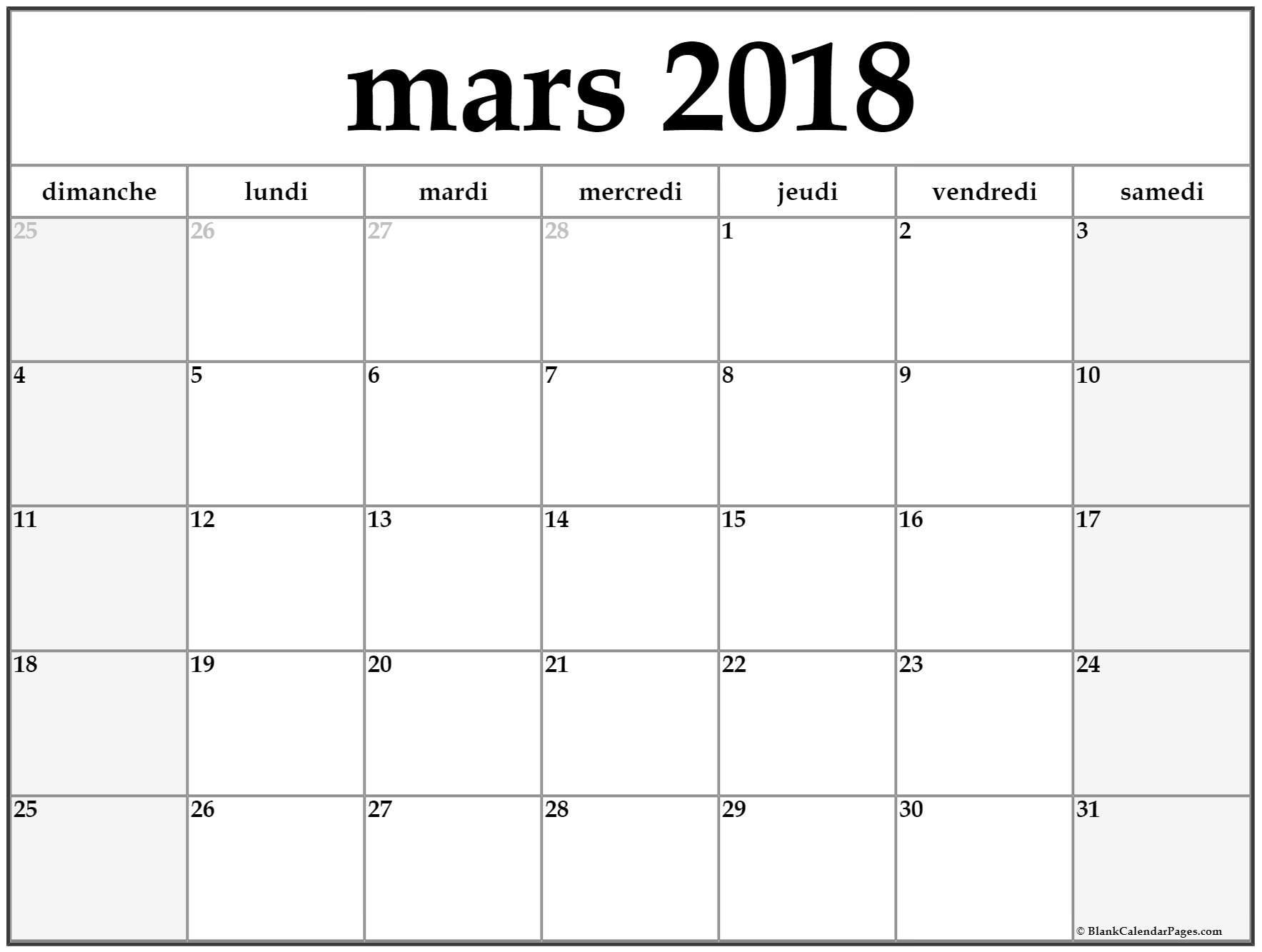 Mars 2018 Calendrier Imprimable | Calendrier Gratuit serapportantà Calendrier Mars 2018 À Imprimer