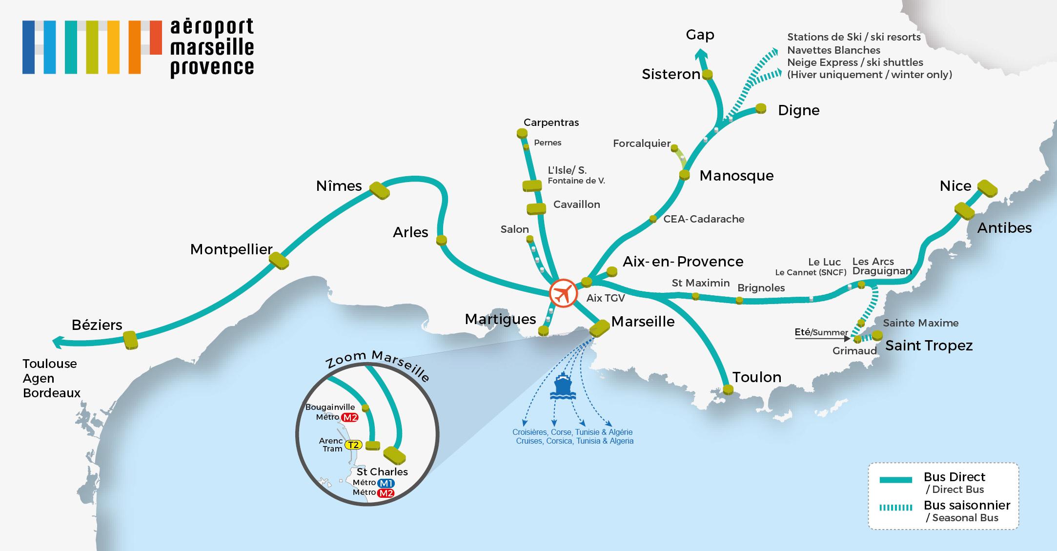 Marseille Provence Airport : Bus serapportantà Gap Sur La Carte De France
