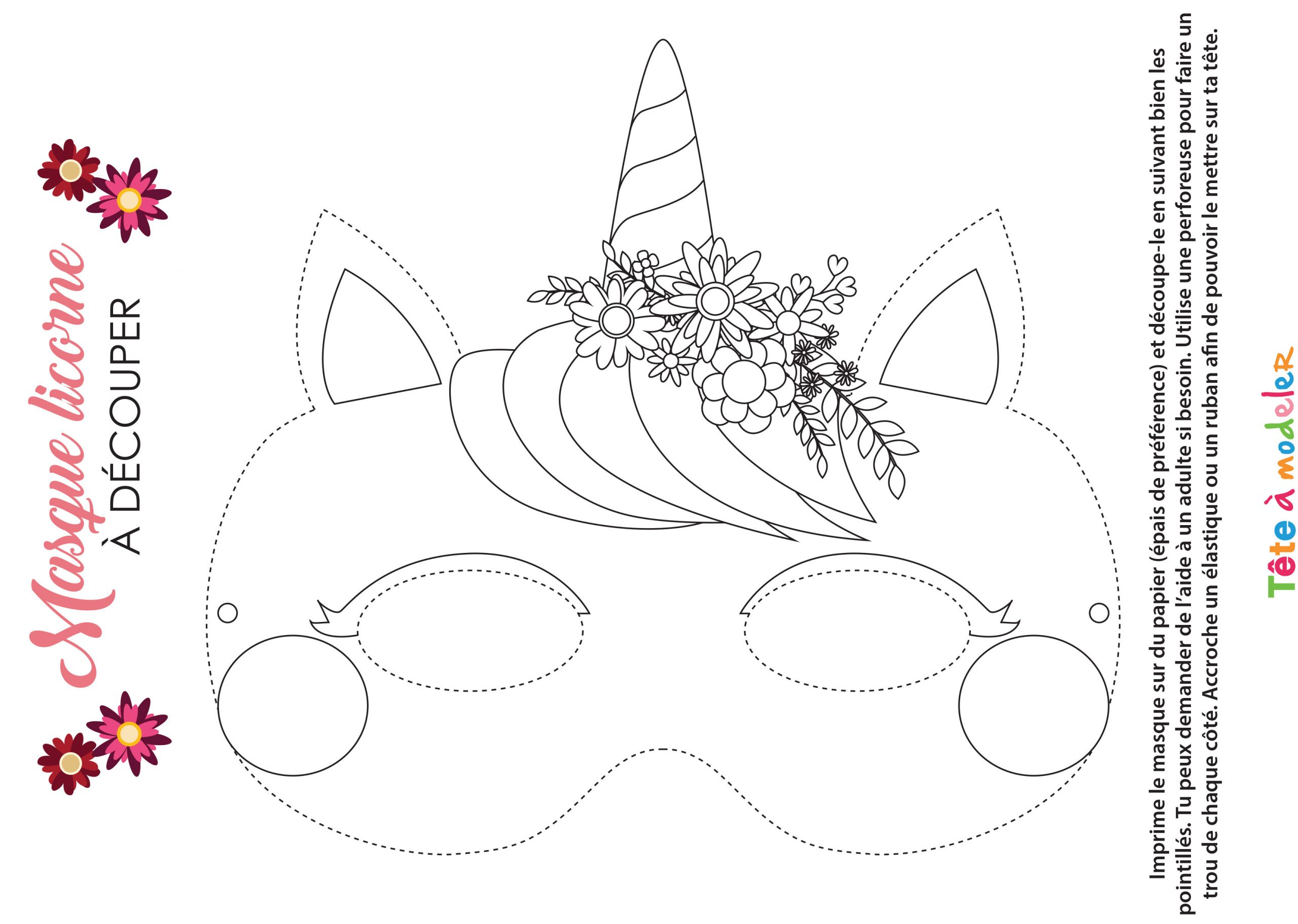 Masque De Licorne À Colorier Avec Tête À Modeler pour Masque Maternelle