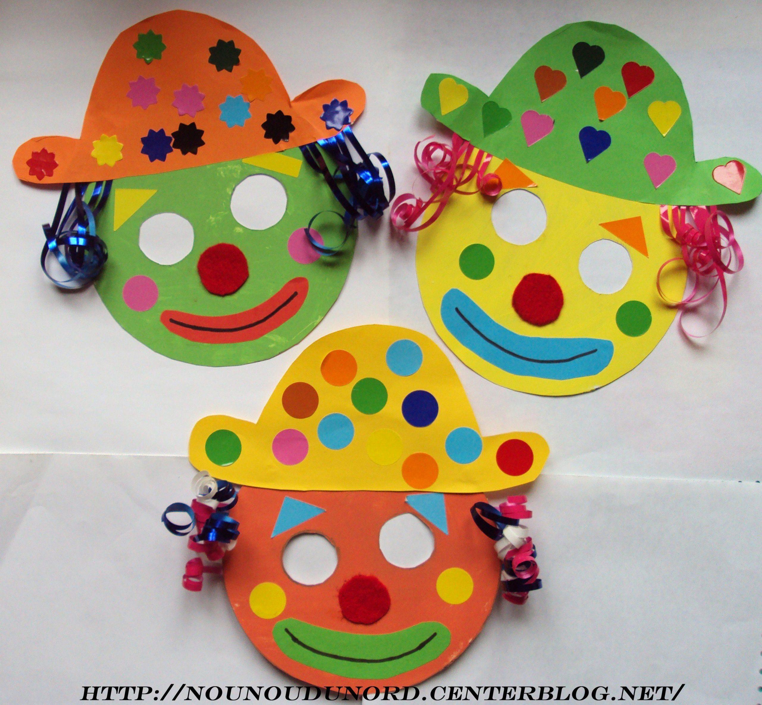 Masques Clowns Pour Le Carnaval *janvier 2010* encequiconcerne Masque Maternelle