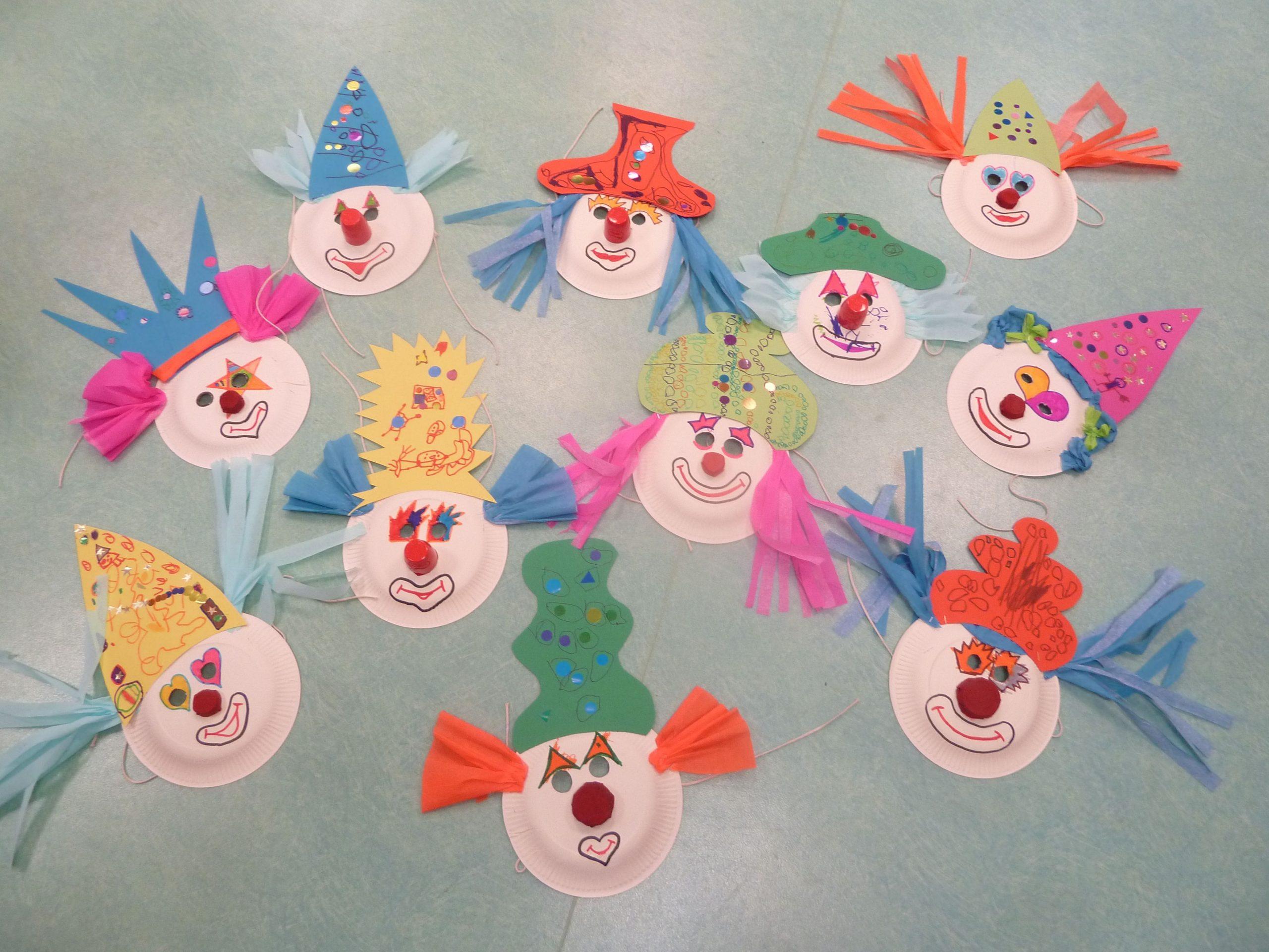 Masques De Clowns (Assiettes En Carton,bouchons, Crépon serapportantà Masque Maternelle