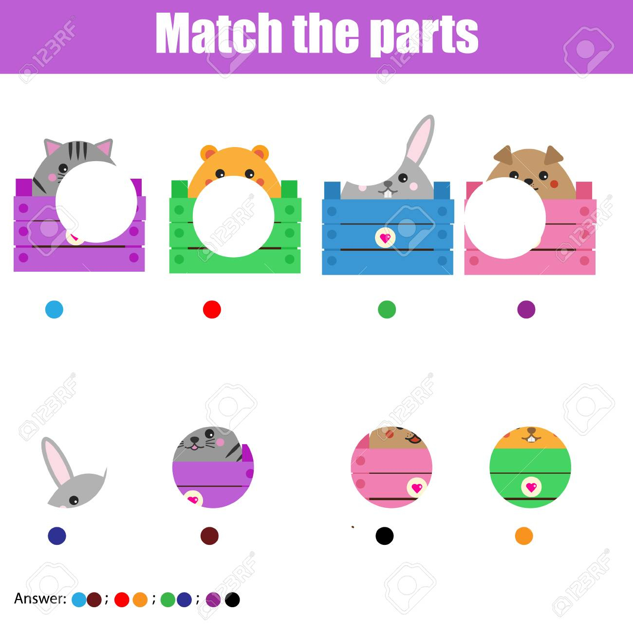 Matching Jeu Éducatif Pour Enfants. Associez Les Pièces D'animaux. Activité  Pour Les Enfants D'âge Préscolaire Et Les Tout-Petits pour Jeux Enfant Animaux