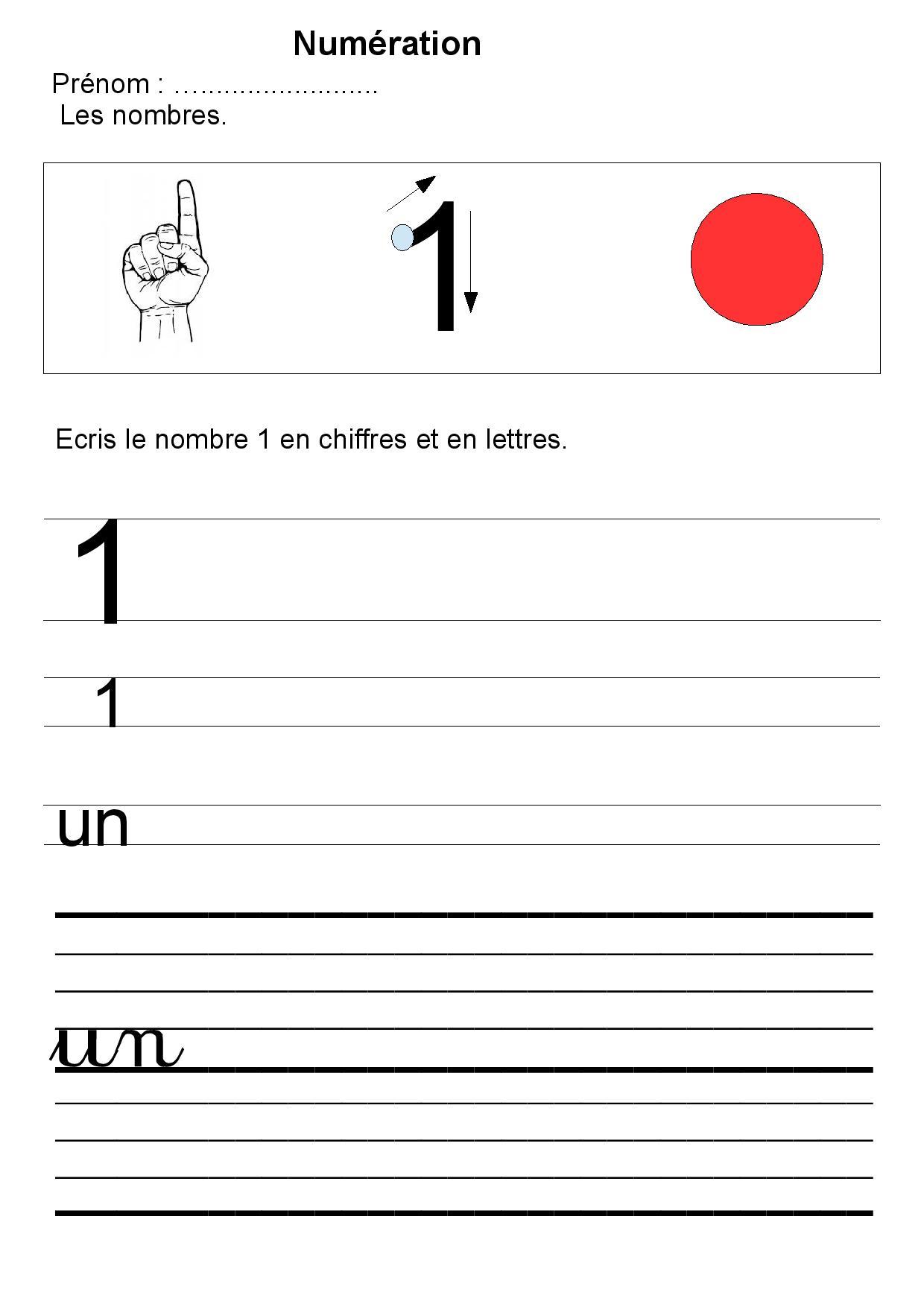 Maternelle Écriture Des Nombres,gs,1,2,3,4,5,exercices encequiconcerne Écriture Chiffres Gs