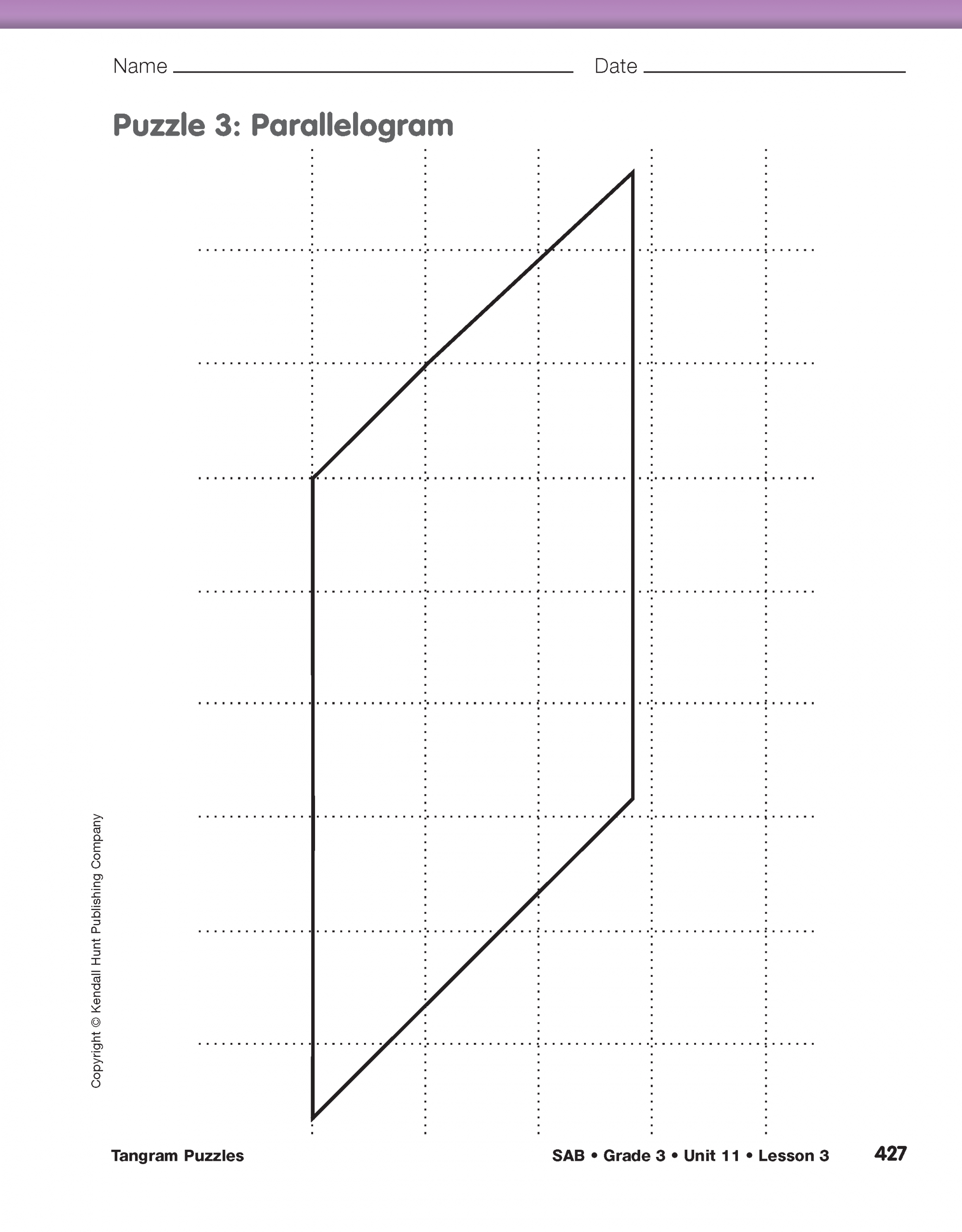 Math Trailblazers dedans Progression Tangram