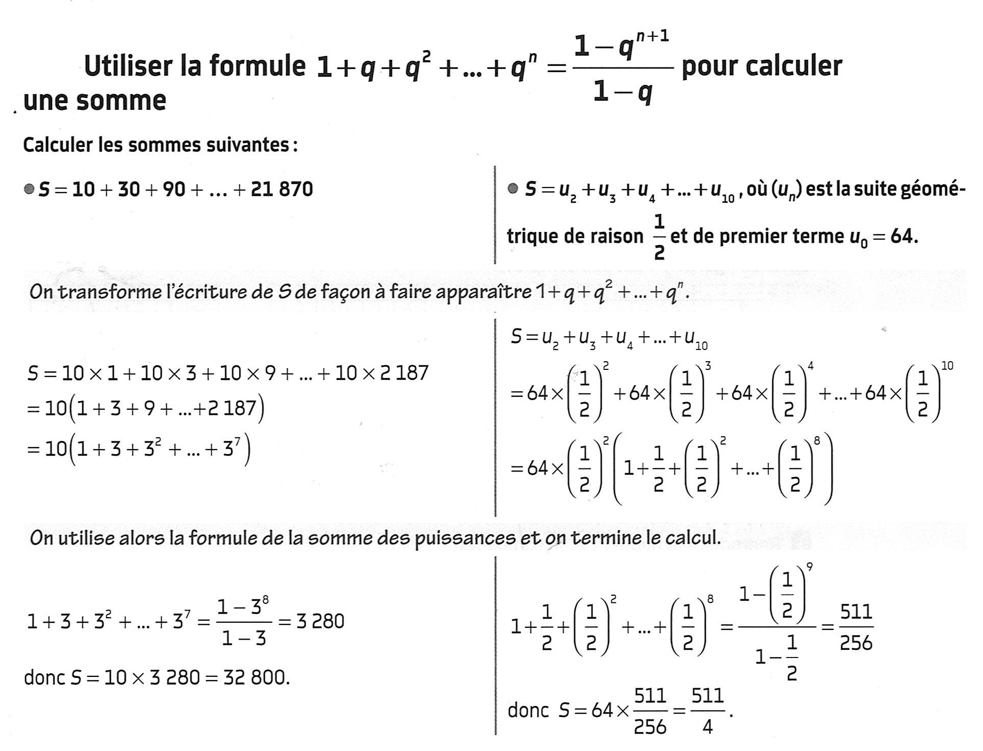 Mathbox - Utiliser La Formule De La Somme Puissances Succéssives pour Exercice De Math Sur Les Puissances