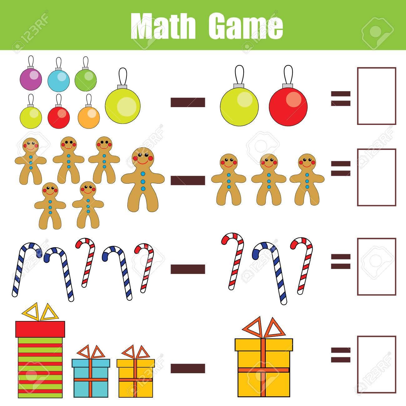 Mathématiques Jeu Éducatif Pour Les Enfants. Apprendre La Soustraction  Feuille De Calcul Pour Les Enfants, Thème De Noël dedans Jeu Calcul Enfant