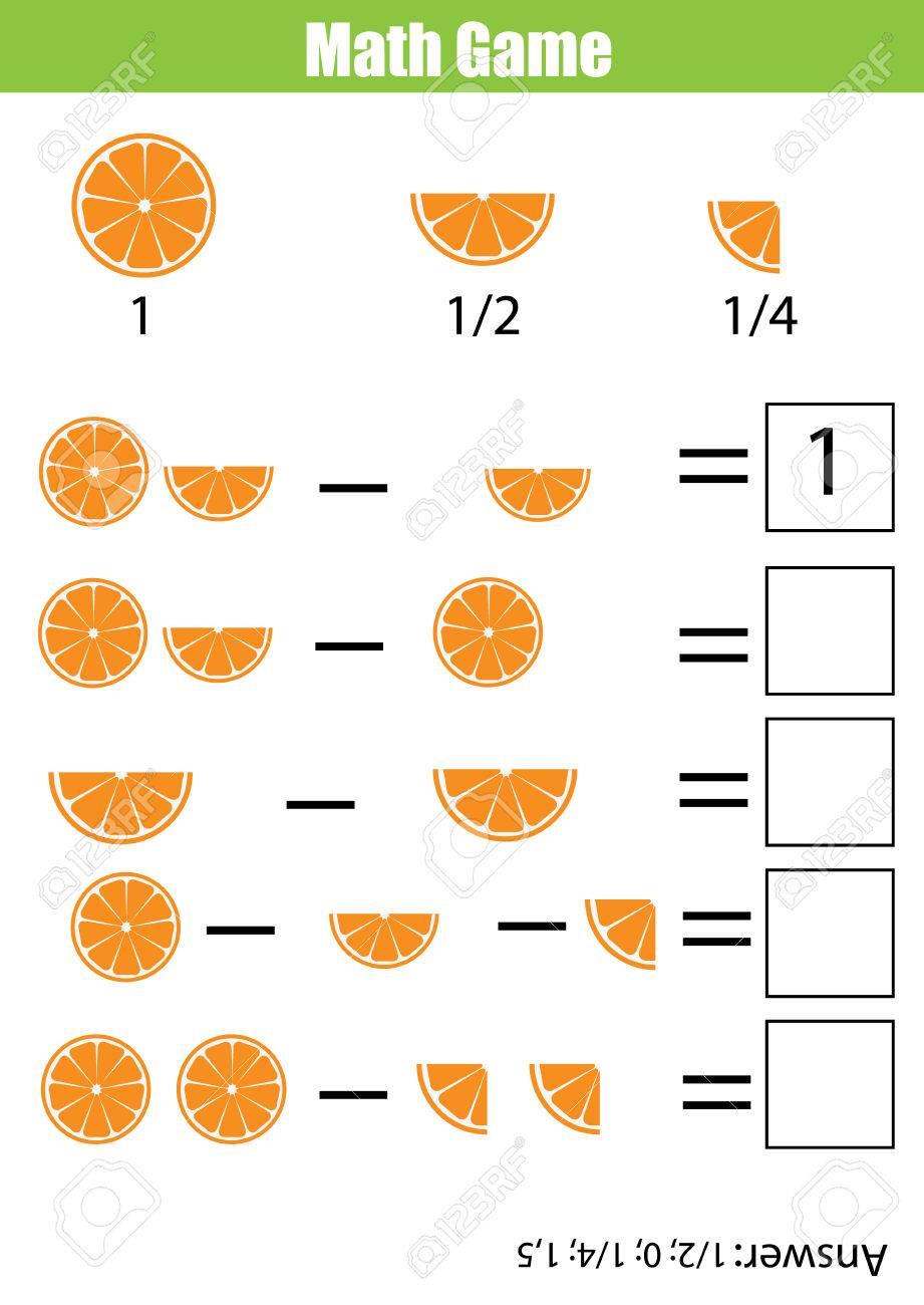 Mathématiques Jeu Éducatif Pour Les Enfants. Comptage Apprentissage,  Soustraction Feuille De Calcul Pour Les Enfants. Fractions, La Moitié, Les  Quarts serapportantà Jeu Calcul Enfant