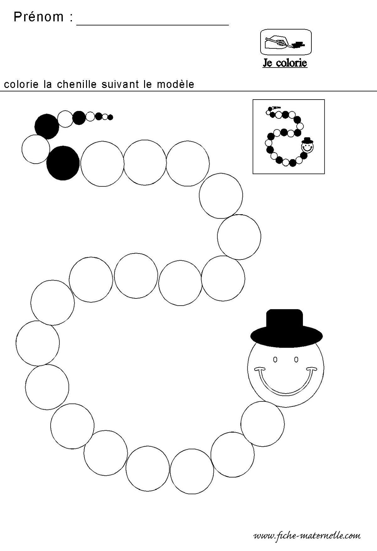 Mathematiques Maternelle Algorithme De La Chenille concernant Fiche Activité Maternelle Petite Section